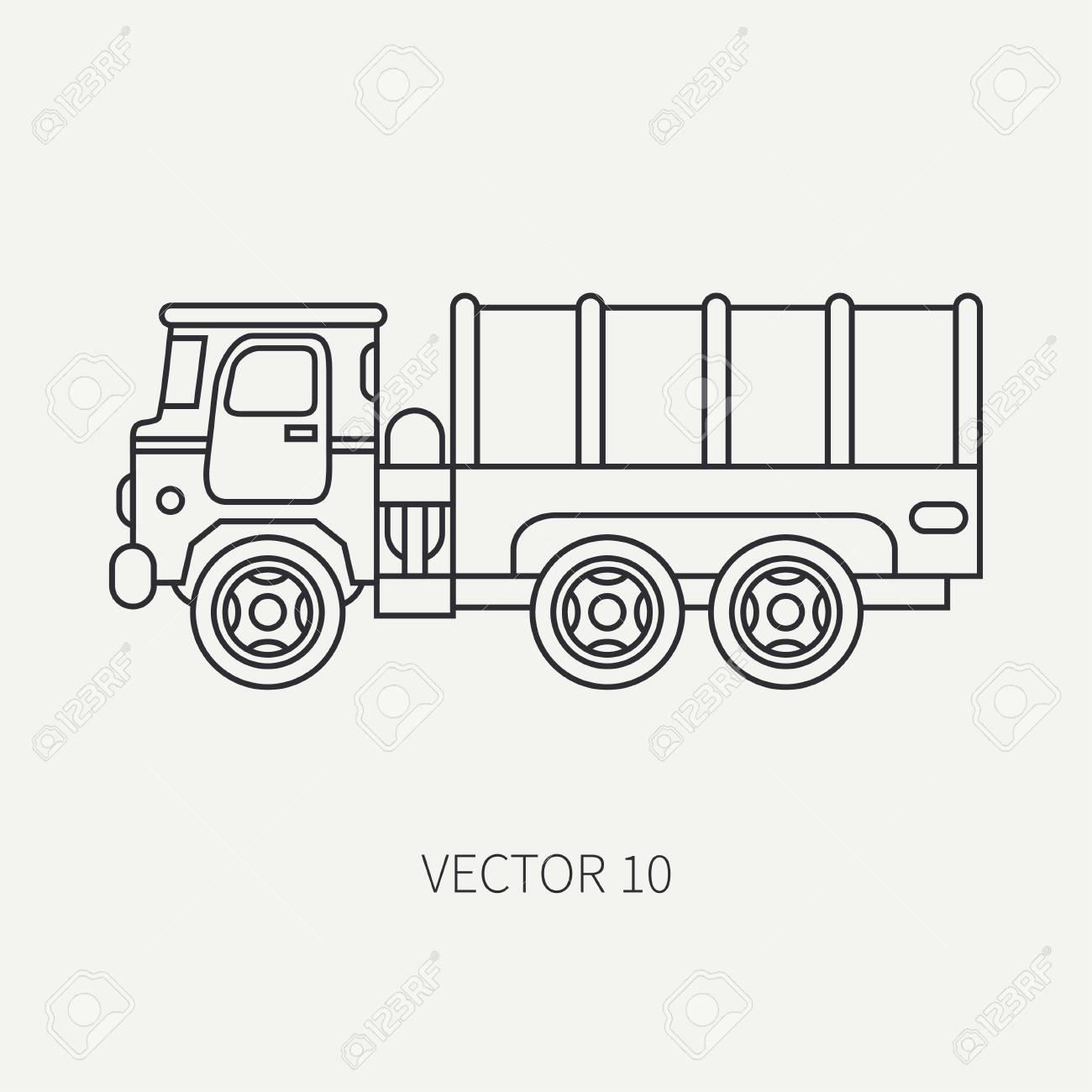 Ligne Plate Plaine Vecteur Icône Bâche Wagon Armée Camion. Véhicule  Militaire Style Vintage De Dessin Animé Transport De Fret Et De Soldats. pour Dessin D Un Camion
