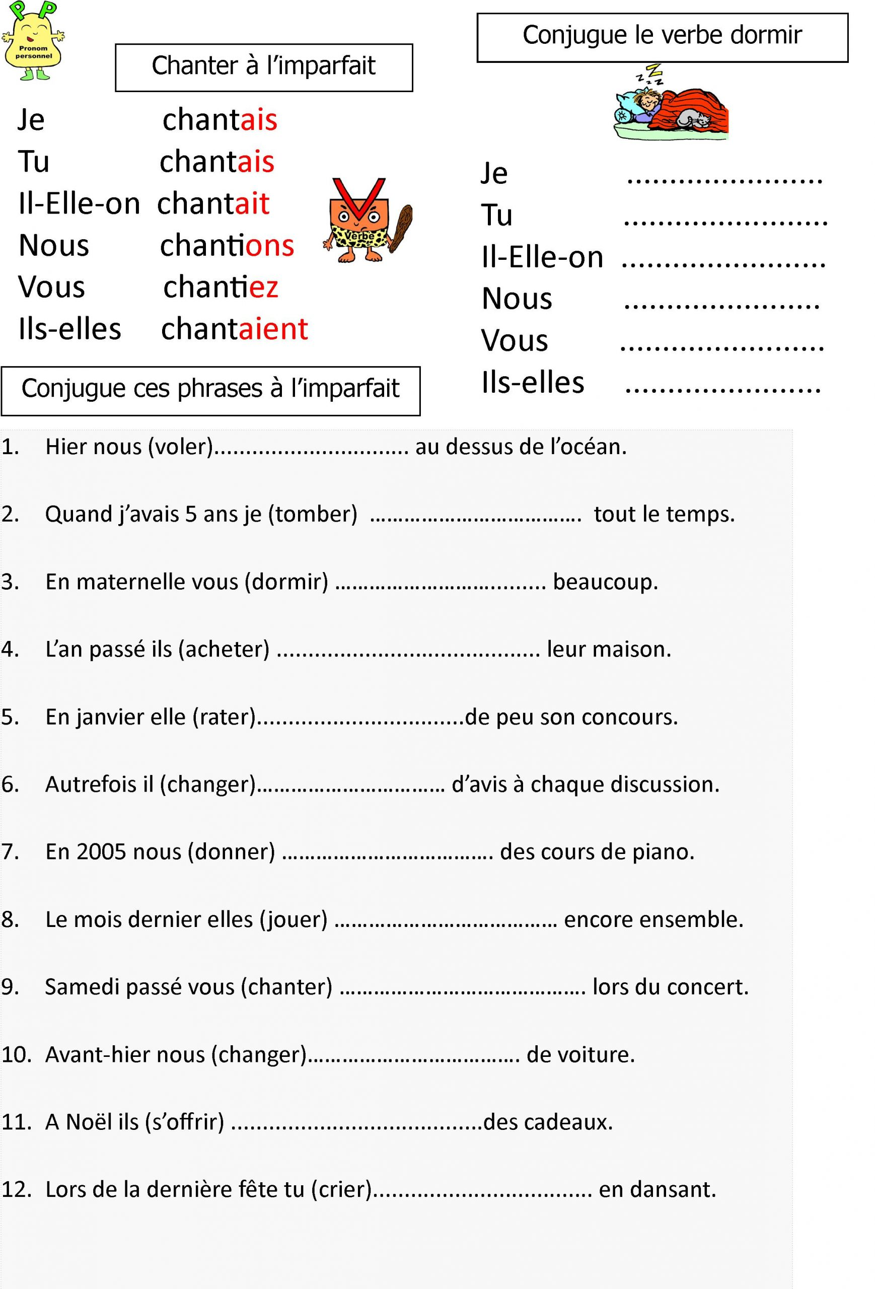 L'imparfait: Leçon Et Exerices Pour Ce1-Ce2 | Le Blog De serapportantà Cours Ce1 Gratuit A Imprimer