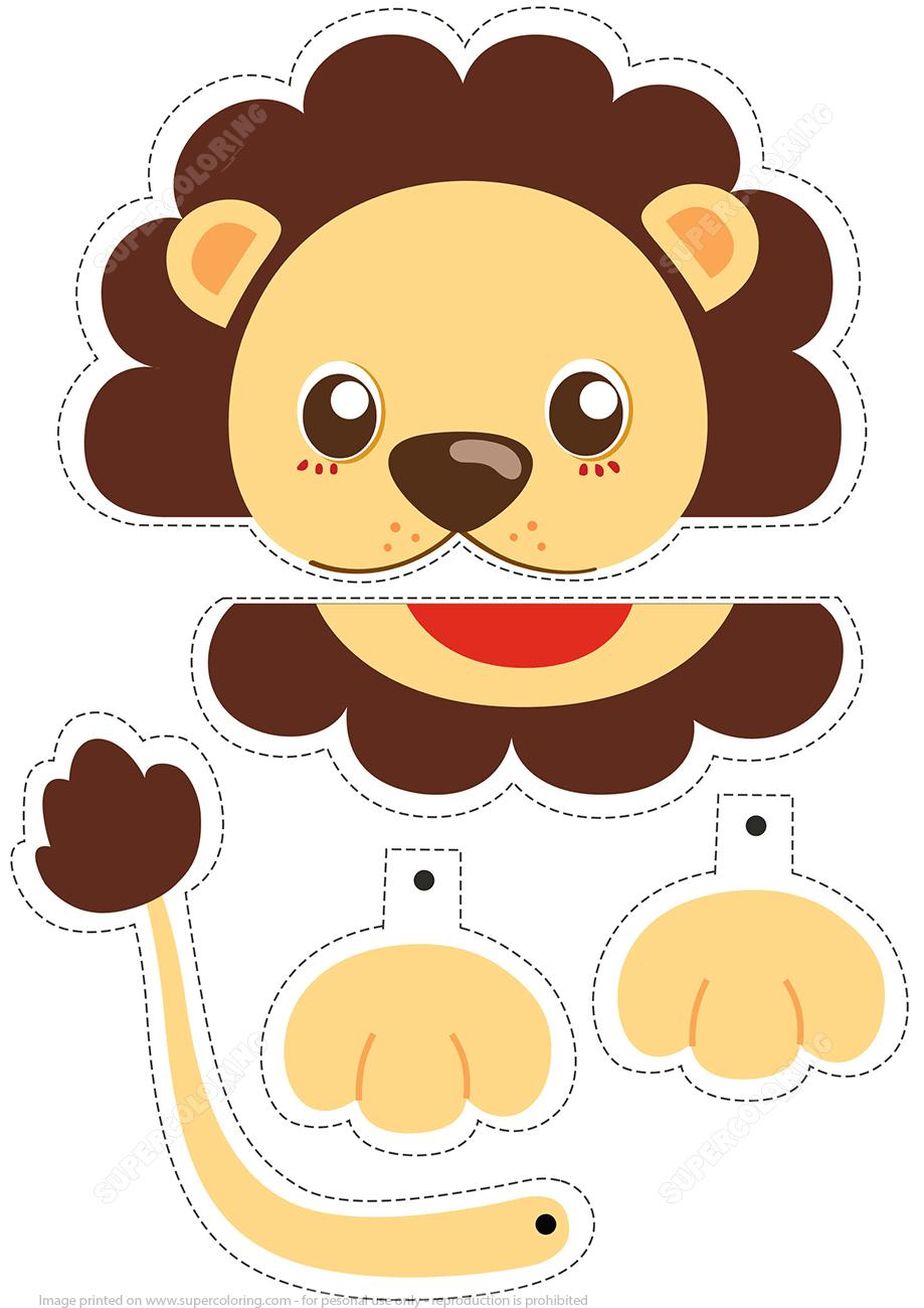 Lion Simple Paper Craft | Super Coloring En 2020 | Activités tout Decoupage Pour Enfant