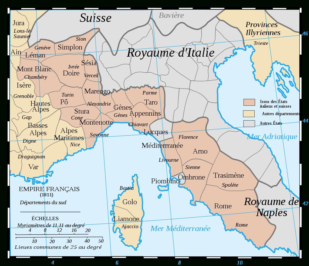 Liste Des Anciens Départements D'italie — Wikipédia pour Carte Departements Francais