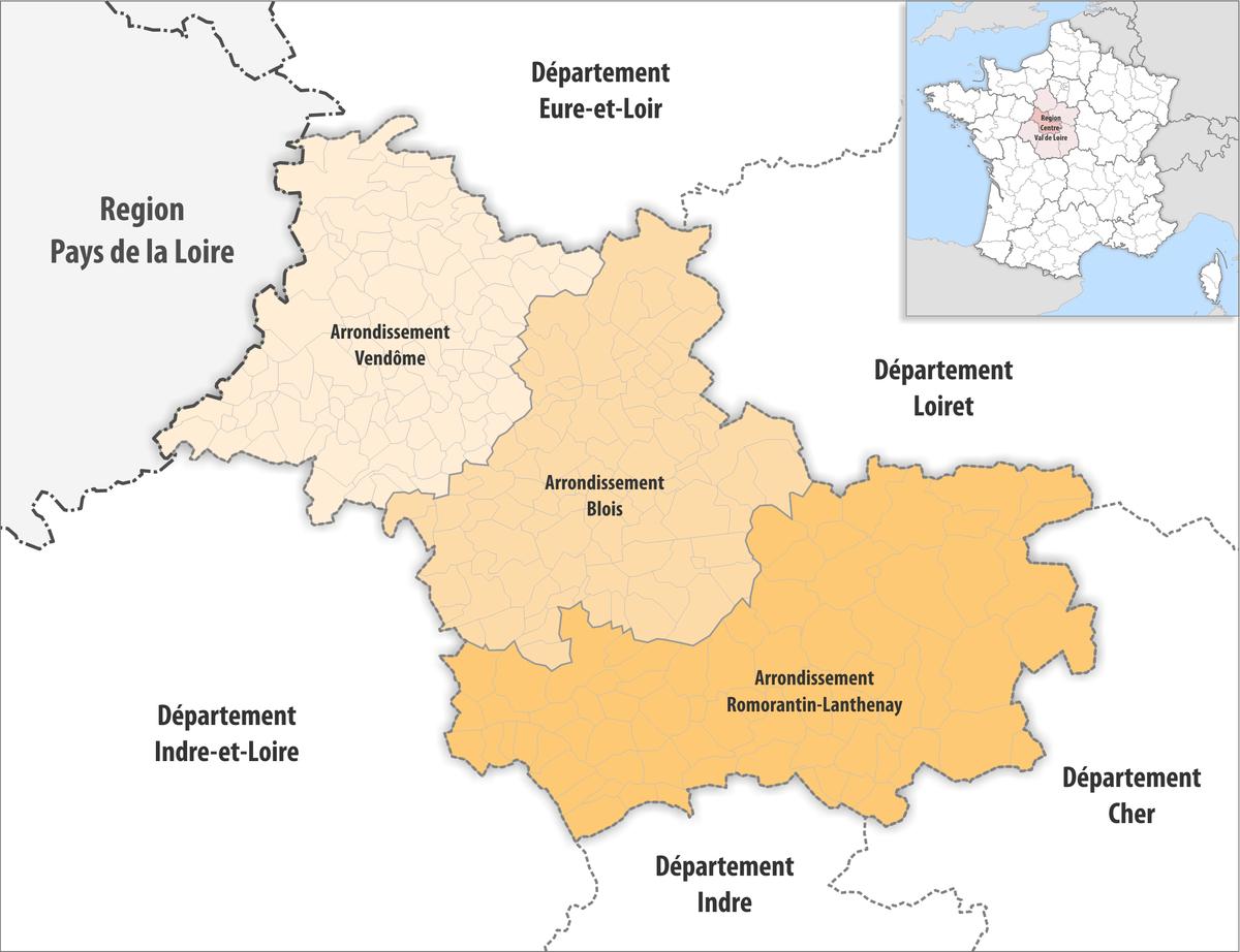 Liste Des Arrondissements De Loir-Et-Cher — Wikipédia serapportantà Tableau Des Départements Français