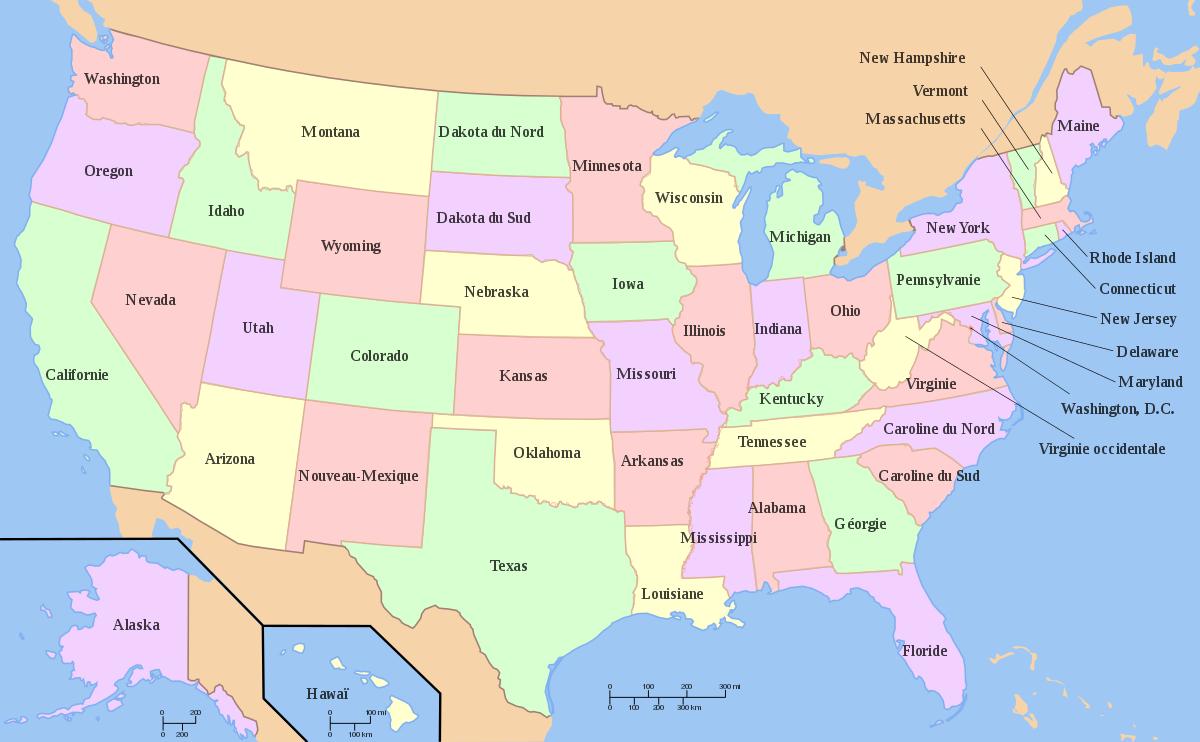 Liste Des Châteaux Américains Par Région — Wikipédia à Carte Des Etats Unis À Imprimer