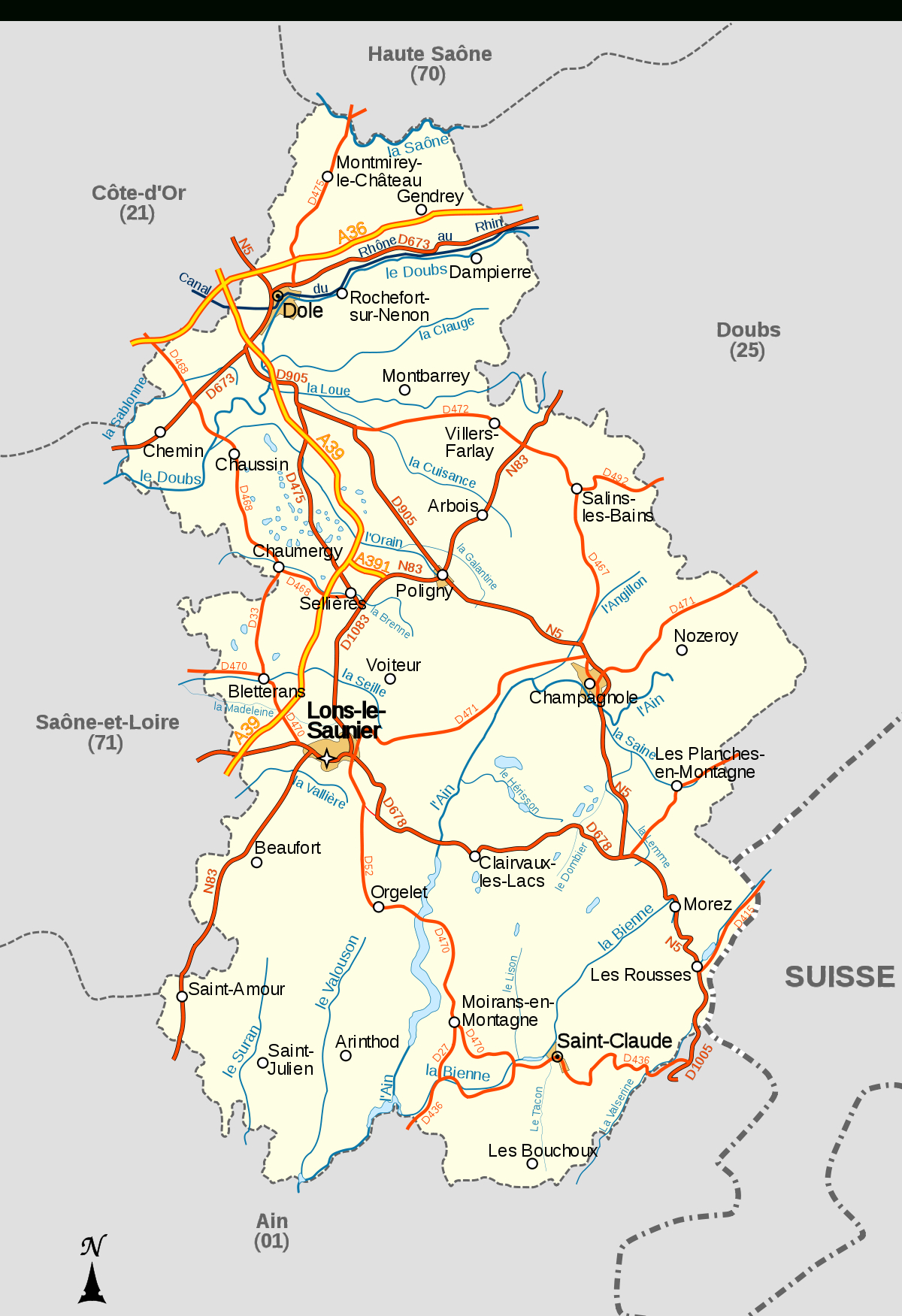 Liste Des Cours D'eau Du Département Du Jura — Wikipédia destiné Carte Des Fleuves De France