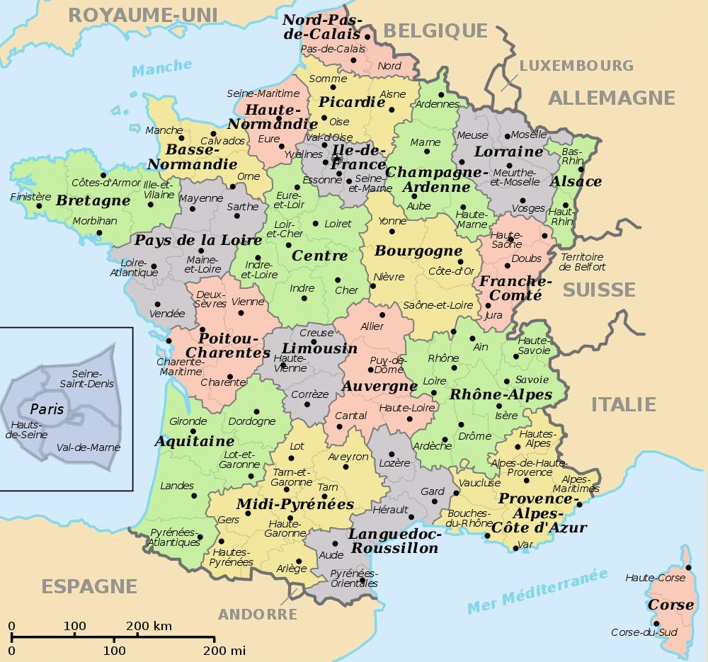 Liste Des Départements Français | Carte De France encequiconcerne Liste Des Régions Françaises