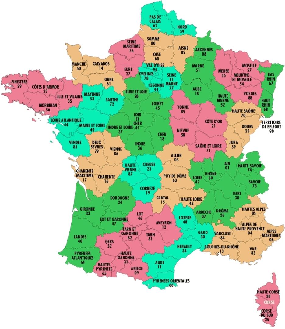 Liste Des Departements Francais & Regions Francaises 2019-2020 pour Carte Departements Francais