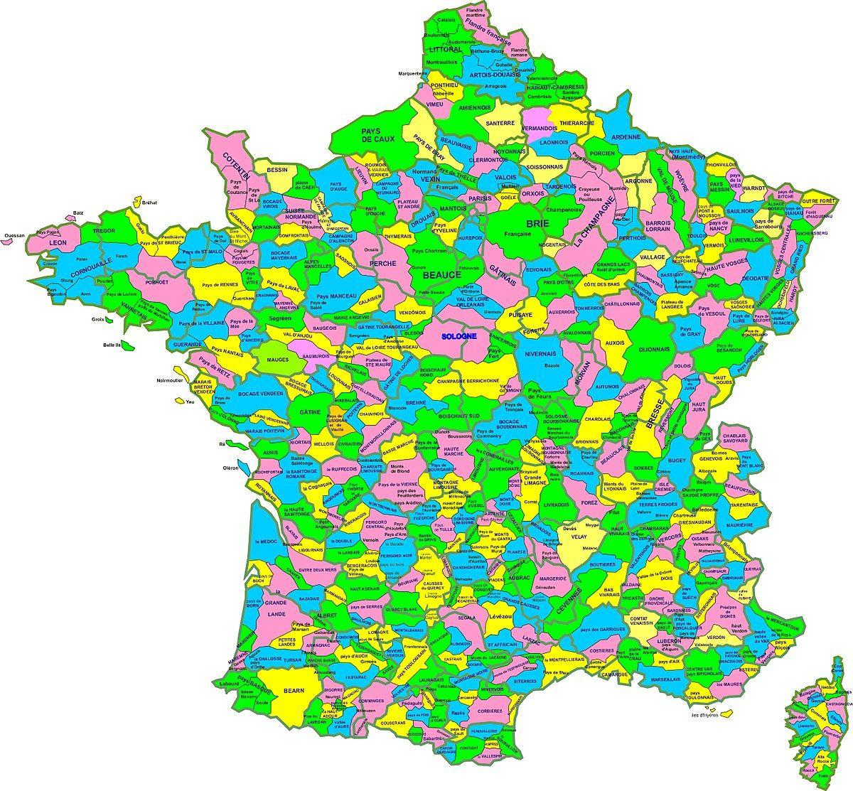 Liste Des Régions Naturelles De France — Wikipédia | Carte destiné Liste Des Régions De France