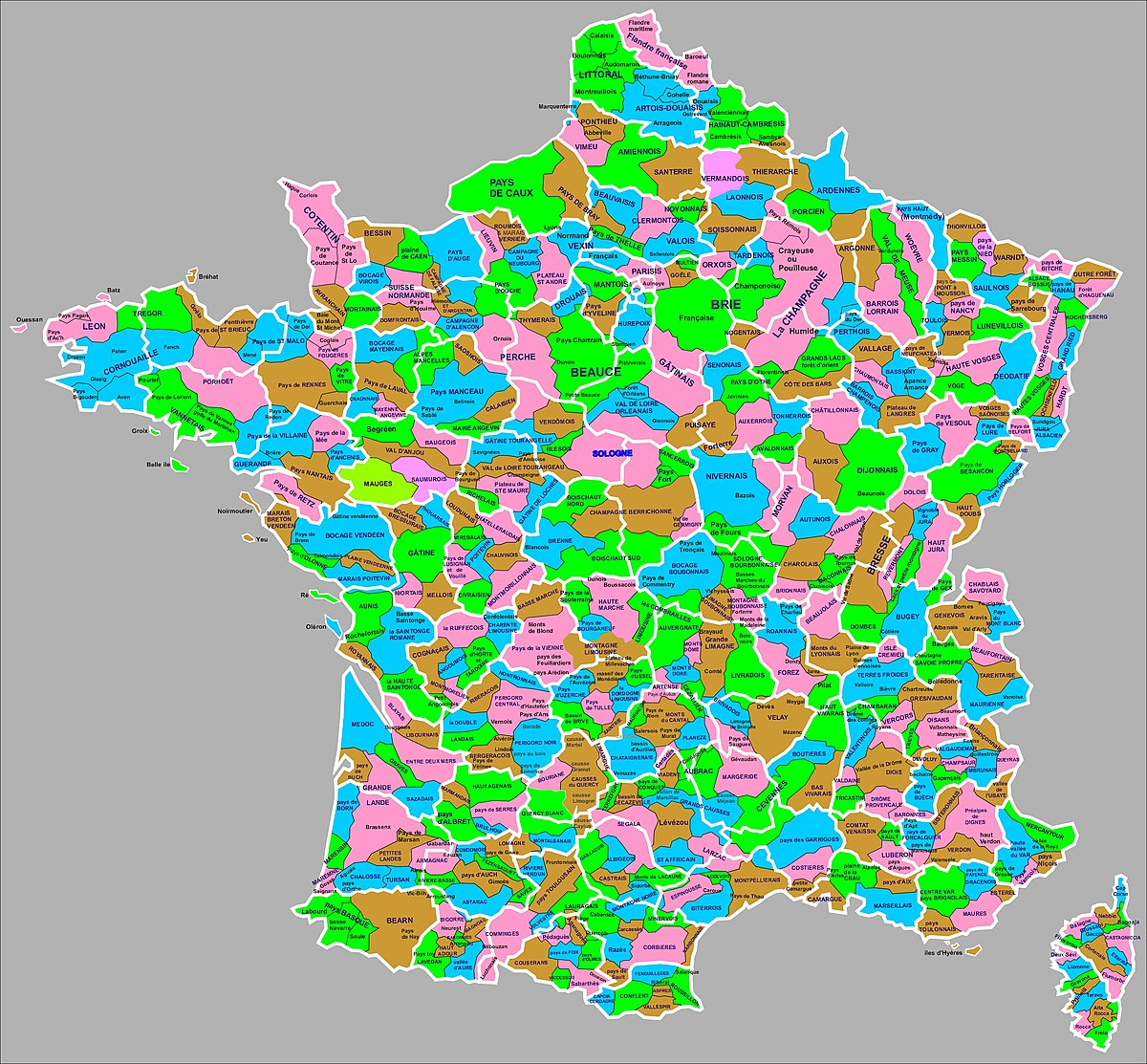 Liste Des Régions Naturelles De France — Wikipédia destiné Liste Des Régions Françaises