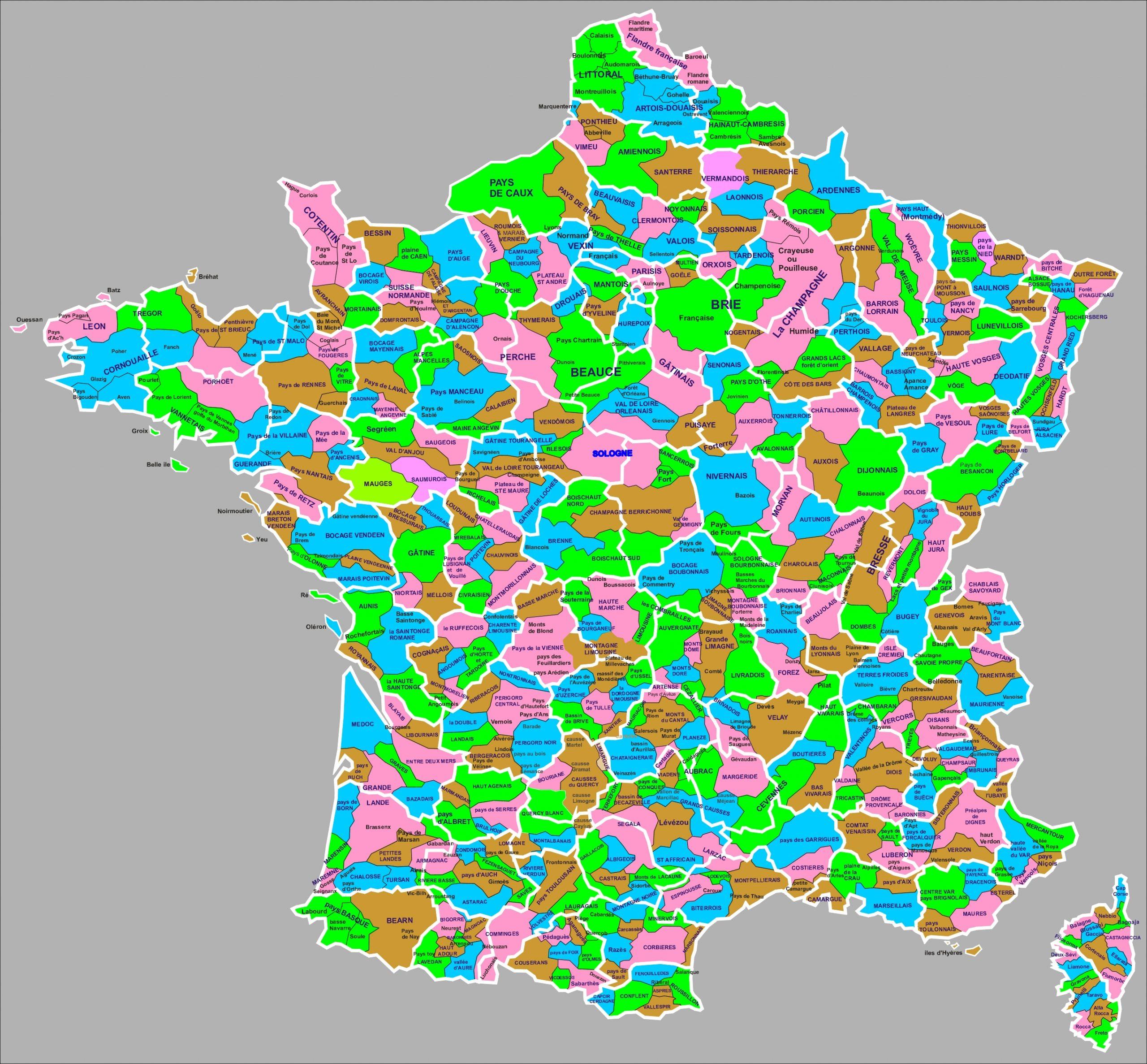 Liste Des Régions Naturelles De France — Wikipédia destiné Petite Carte De France A Imprimer