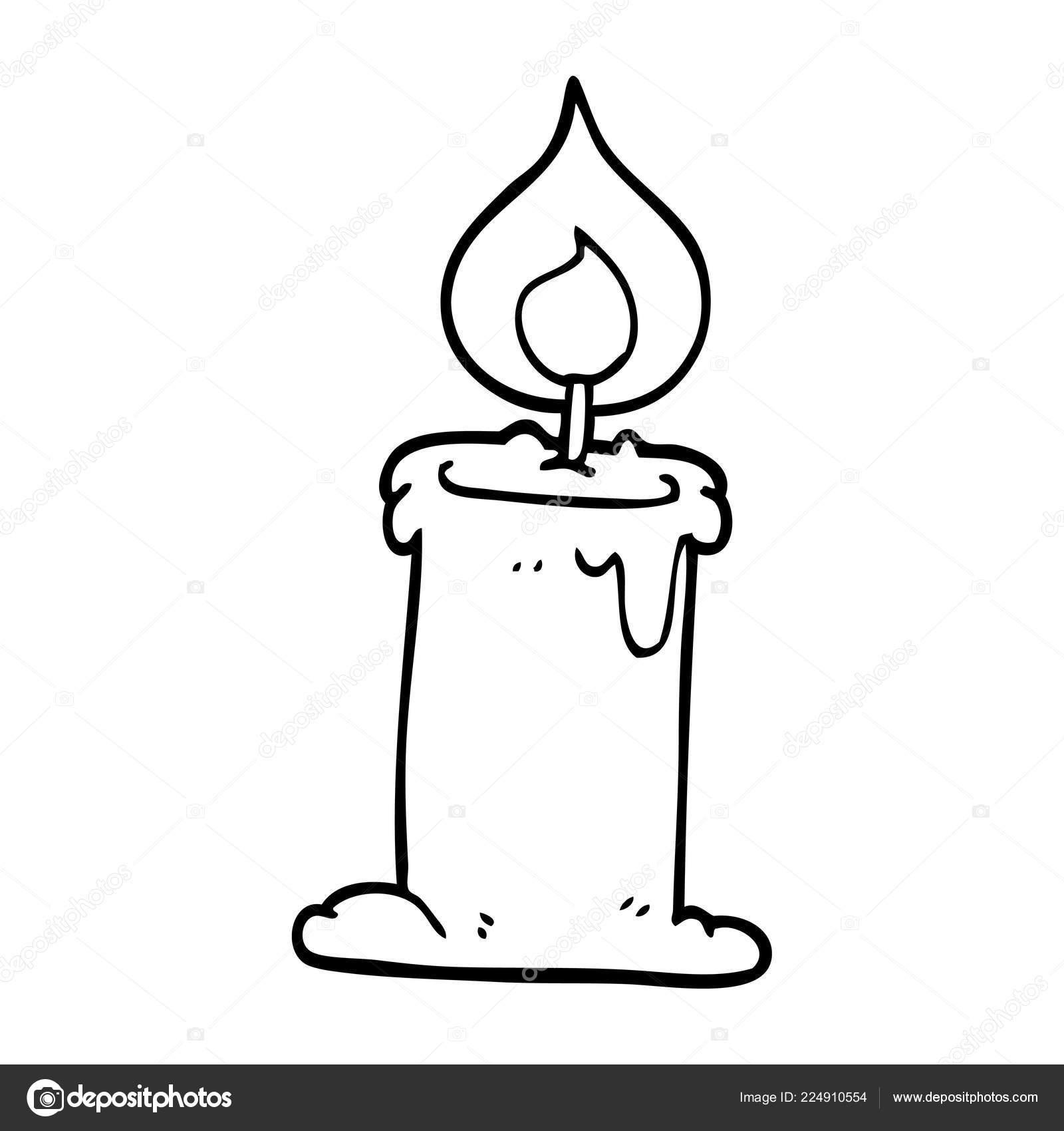 Lit Drawing | Line Drawing Cartoon Lit Candle — Stock Vector serapportantà Dessin Sur Bougie