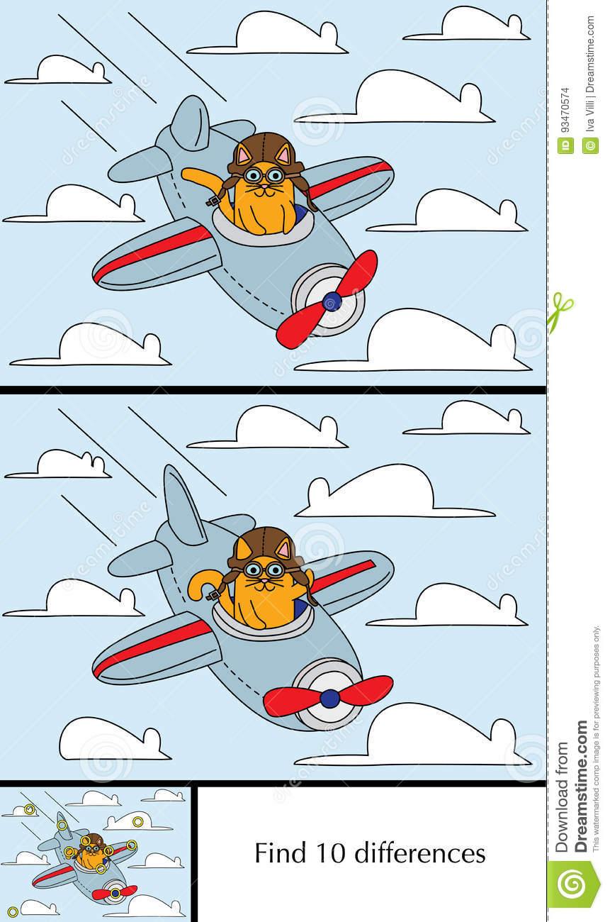 Little Cat Puzzle Stock Vector. Illustration Of Solution tout Jeux Des Differences Gratuit