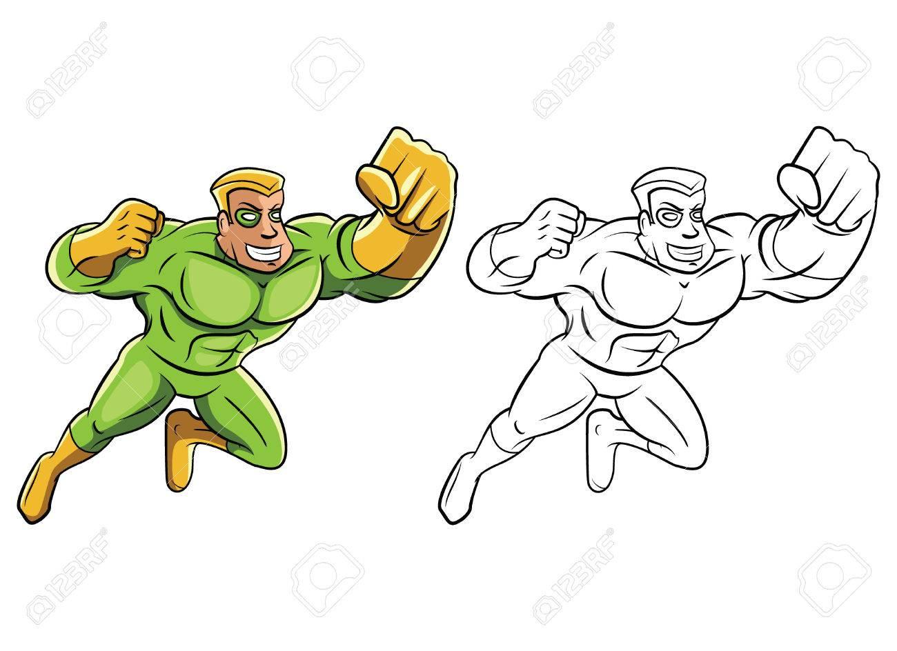 Livre À Colorier Personnage De Dessin Animé Vert Super Hero dedans Personnage A Colorier