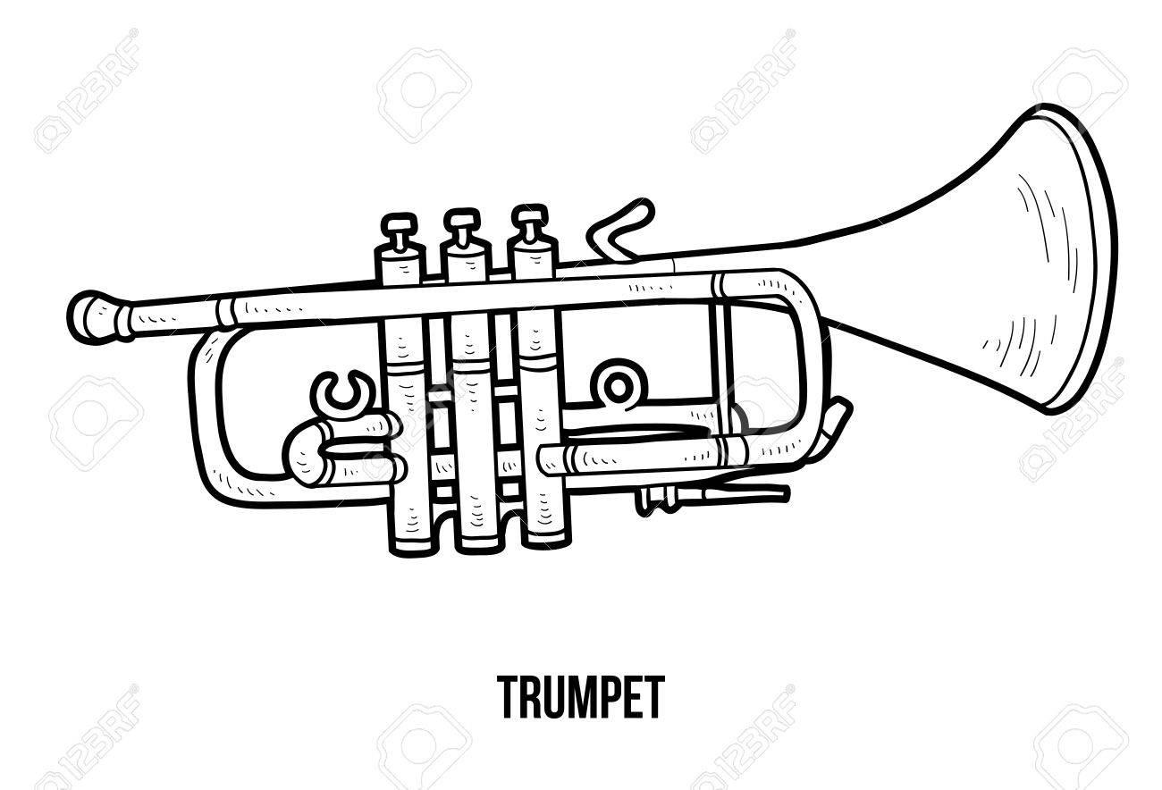Livre À Colorier Pour Les Enfants: Instruments De Musique Trompette intérieur Trompette À Colorier