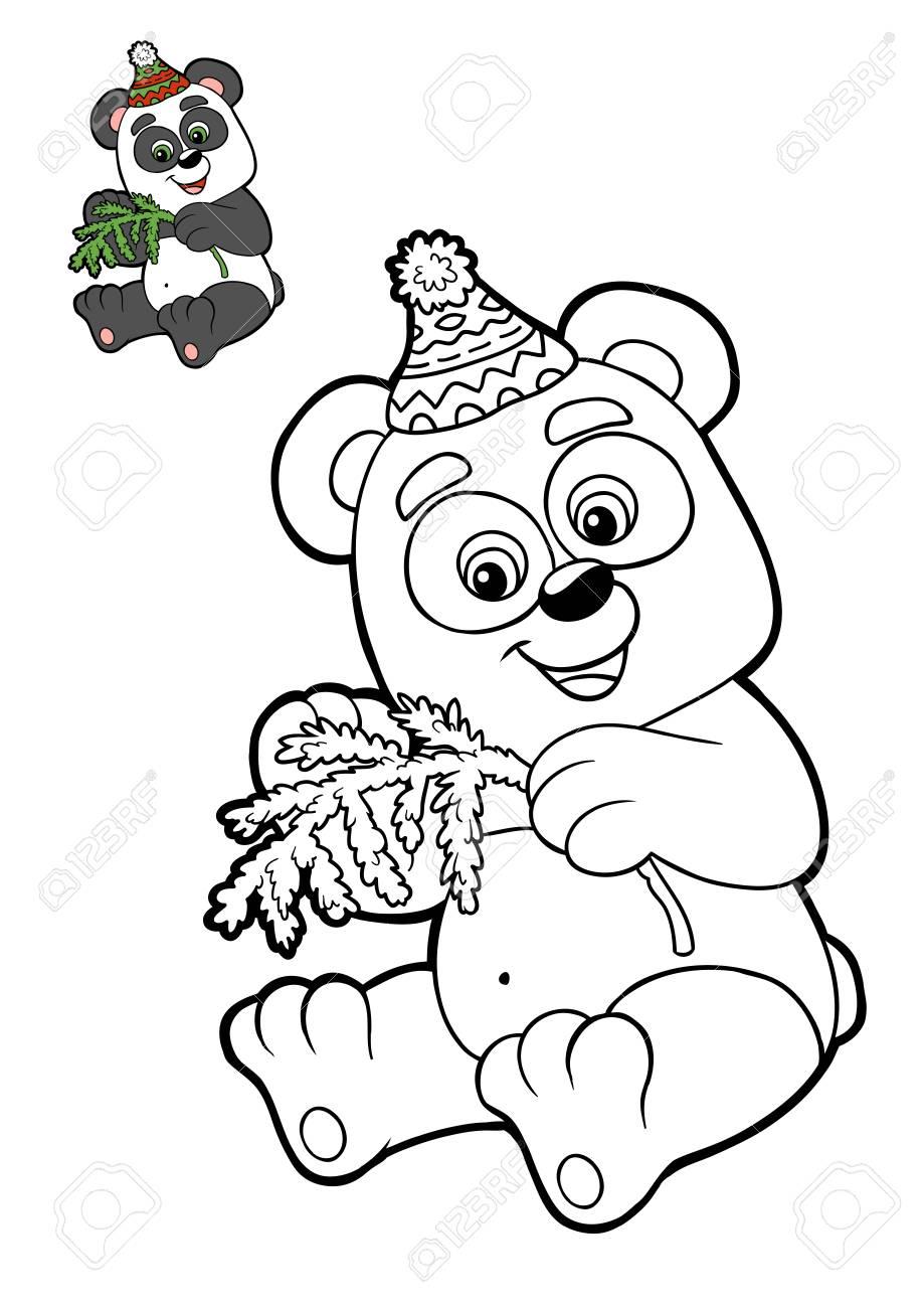 Livre À Colorier Pour Les Enfants, Les Animaux De Noël, Panda à Panda À Colorier