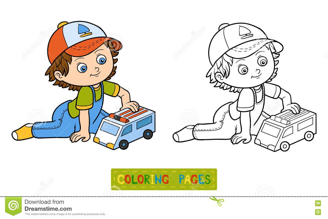 Livre De Coloration Jeux De Petit Garçon Avec La Voiture D dedans Jeux De Petite Voiture
