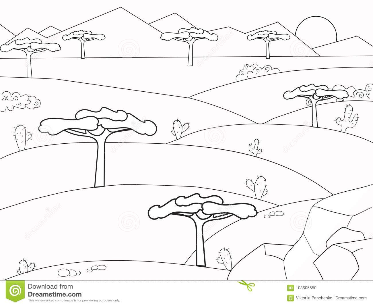 Livre De Coloriage Africain De La Savane Nature De Fond encequiconcerne Dessin Africain A Colorier