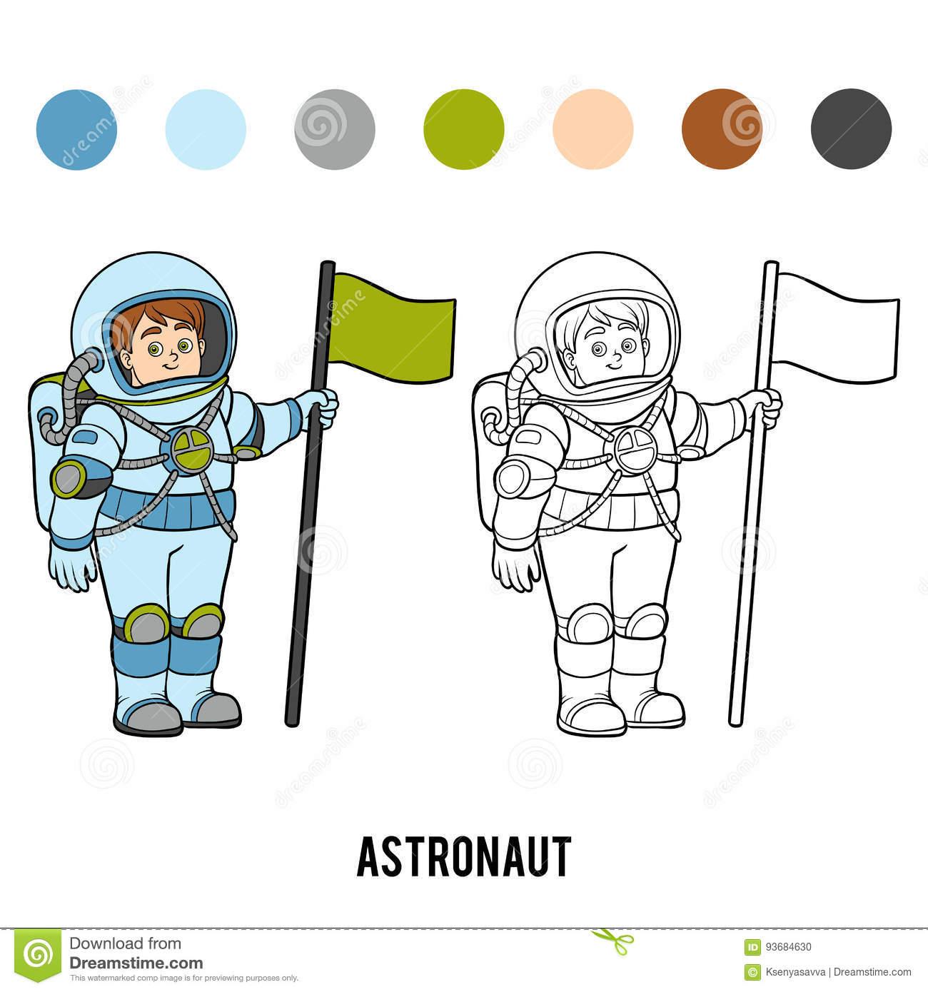Livre De Coloriage, Astronaute Illustration De Vecteur avec Coloriage Astronaute