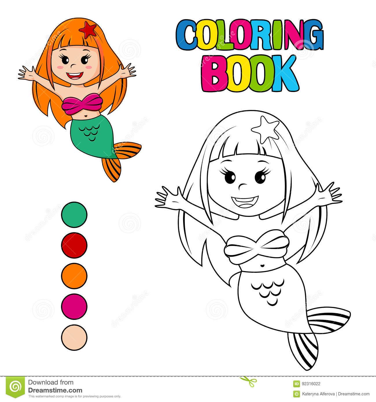Livre De Coloriage Avec La Petite Sirène Mignonne à La Petite Sirène À Colorier