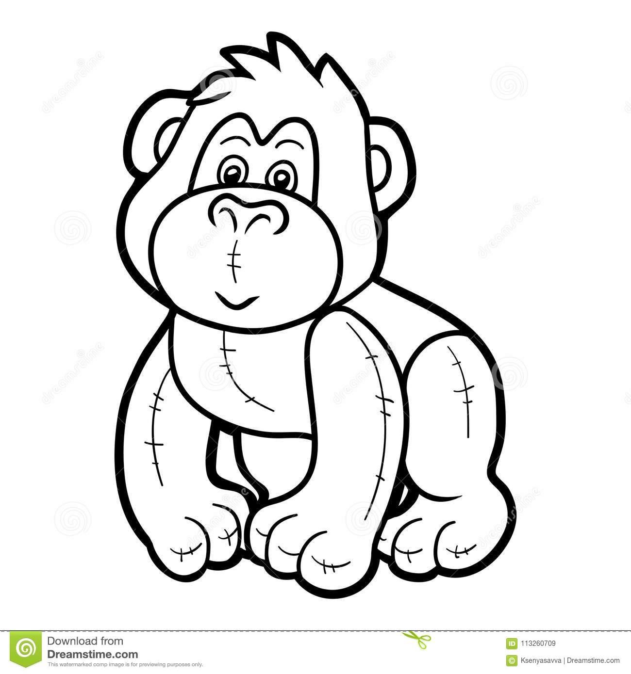 Livre De Coloriage, Gorille Bourré De Jouet Illustration De à Coloriage Gorille