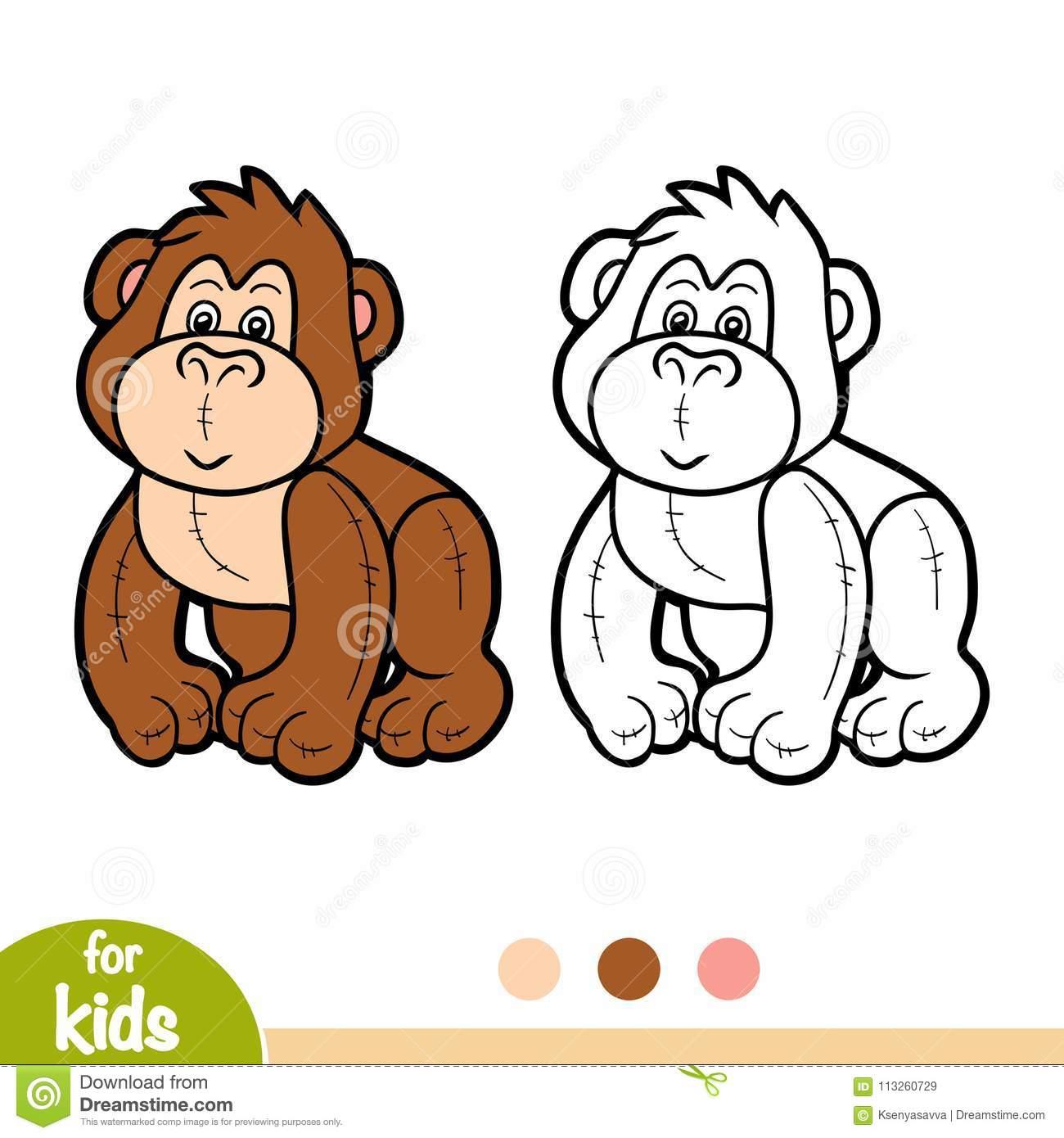 Livre De Coloriage, Gorille Bourré De Jouet Illustration De tout Coloriage Gorille