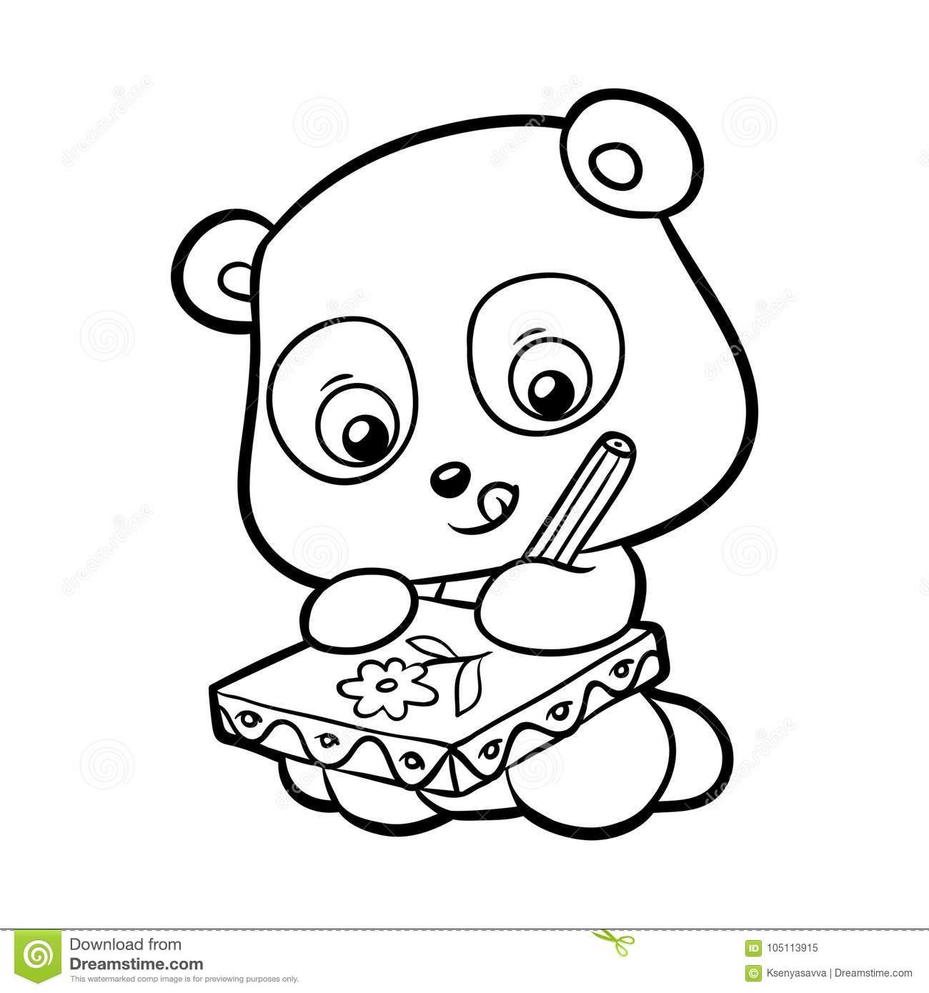Livre De Coloriage, Panda Illustration De Vecteur avec Panda À Colorier