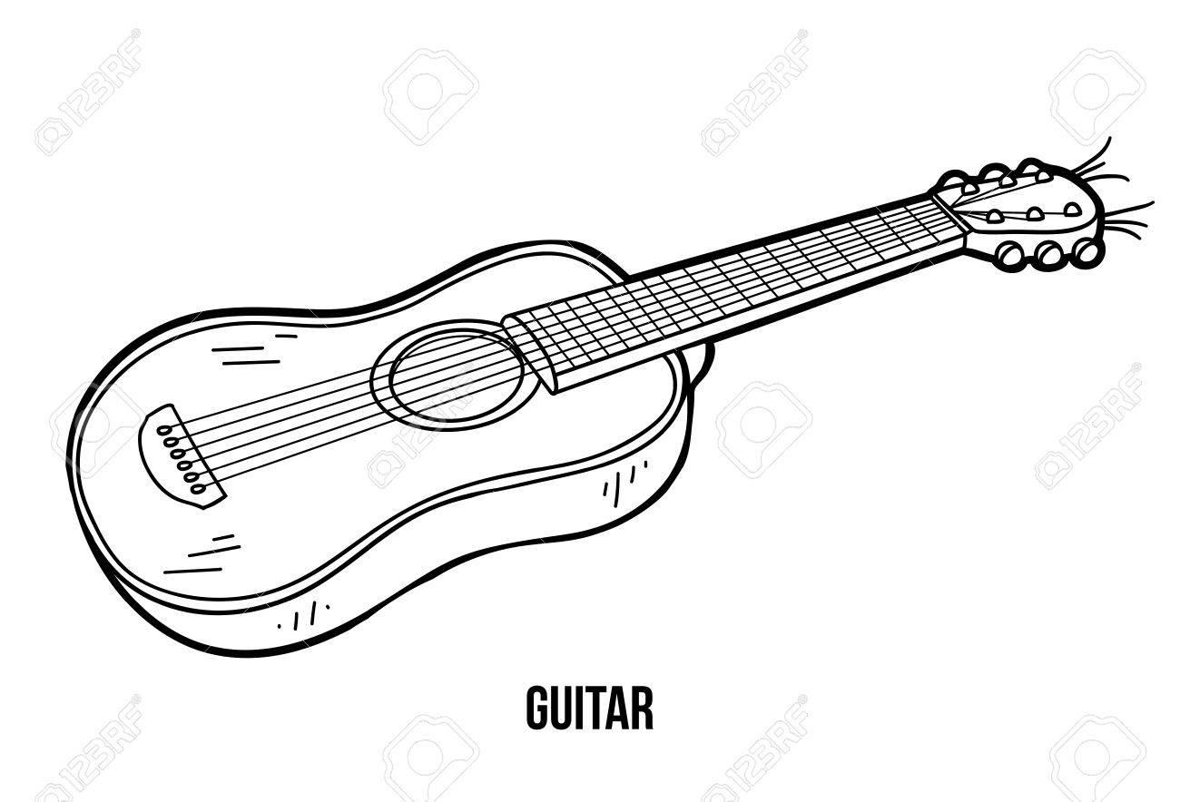 Livre De Coloriage Pour Les Enfants, L'éducation Jeu: Instruments De  Musique (Guitare) à Jeu Des Instruments De Musique