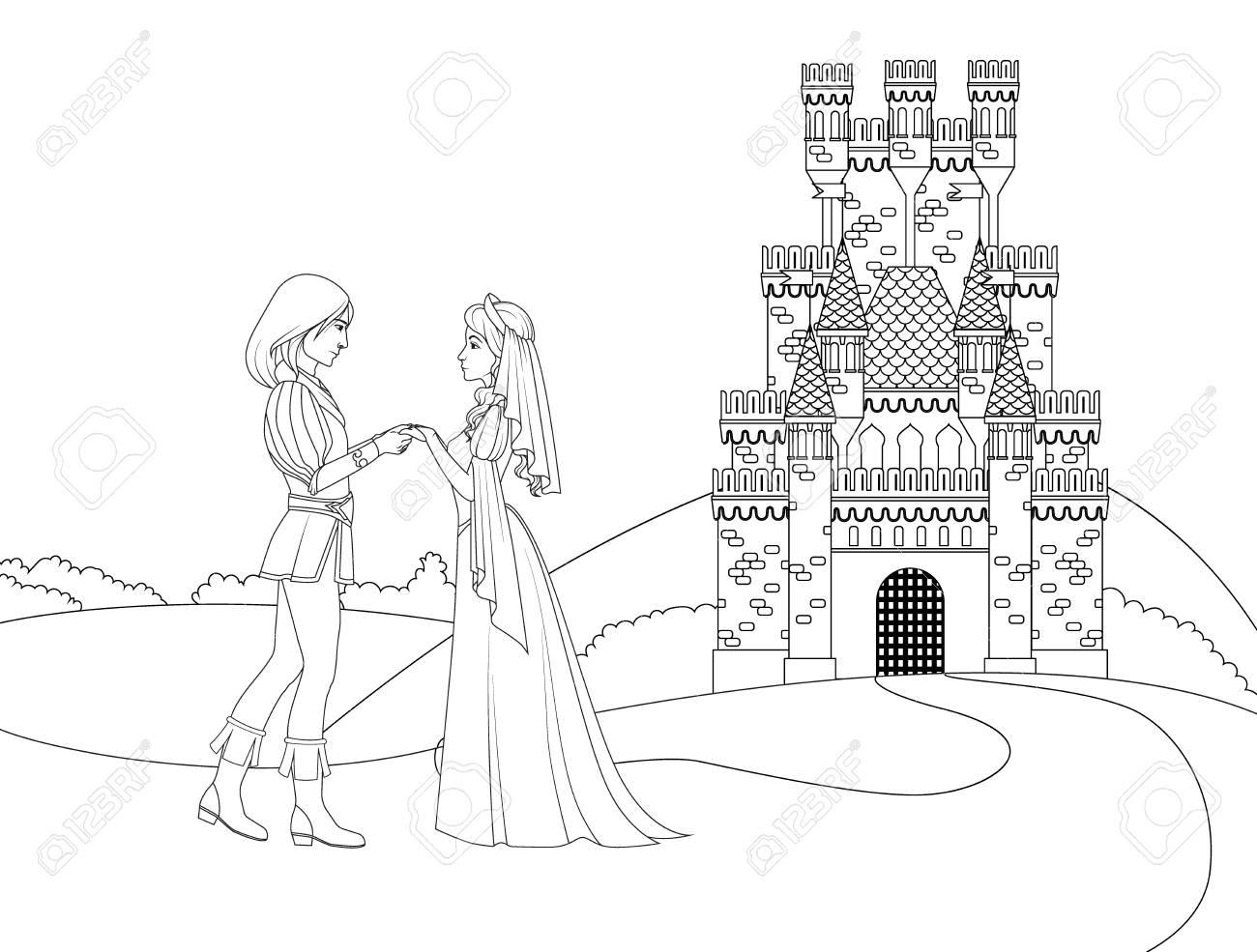 Livre De Coloriage: Prince Et Princesse Devant Le Château destiné Dessin Chateau Princesse