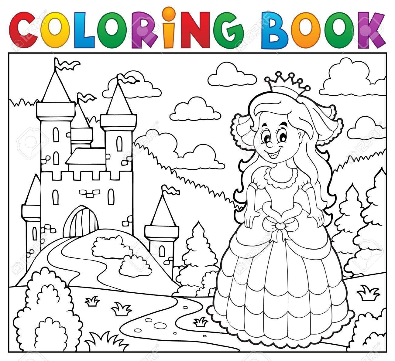 Livre De Coloriage Princesse Heureuse Près Du Château encequiconcerne Chateau De Princesse Dessin