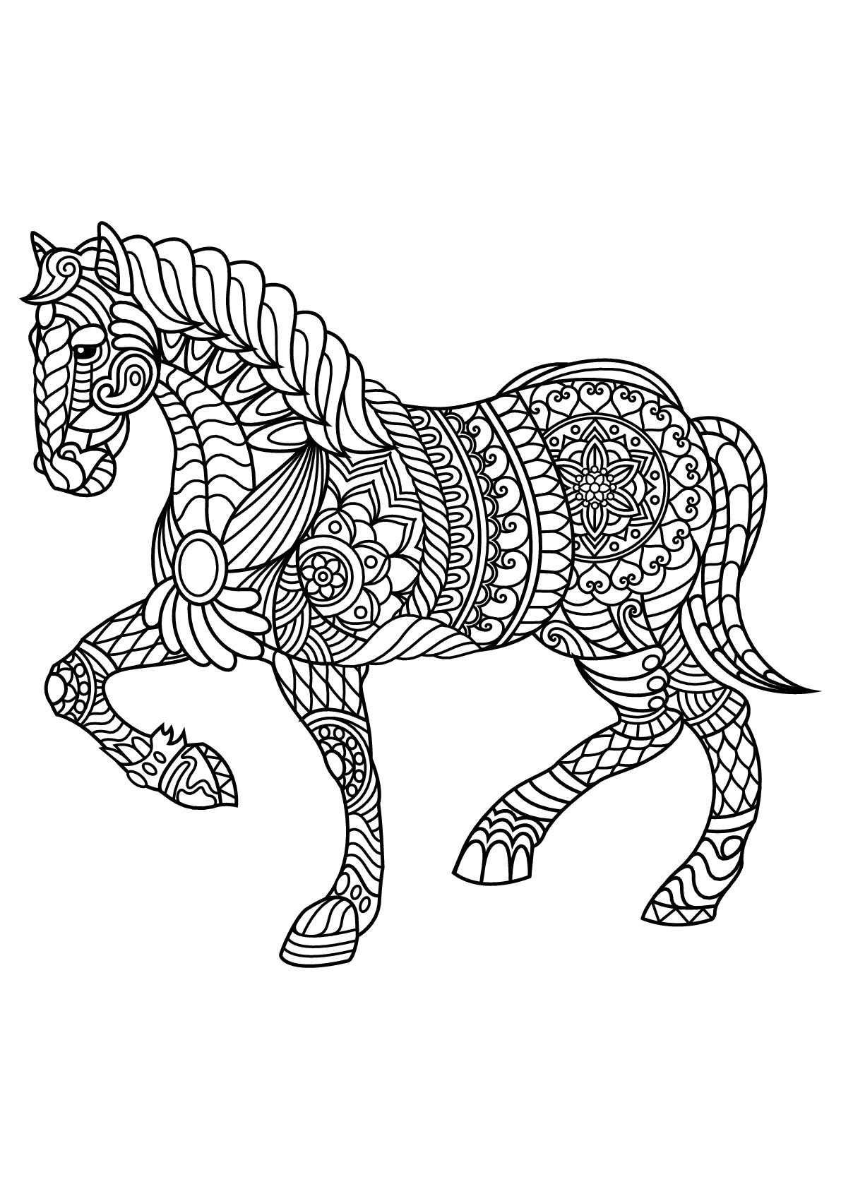Livre Gratuit Cheval - Chevaux - Coloriages Difficiles Pour destiné Image De Cheval A Colorier