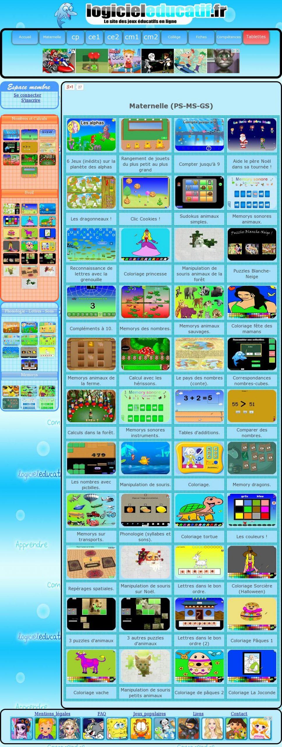 Logiciel Éducatif : Jeux Éducatifs Gratuits En Ligne De La à Jeux Maternelle En Ligne