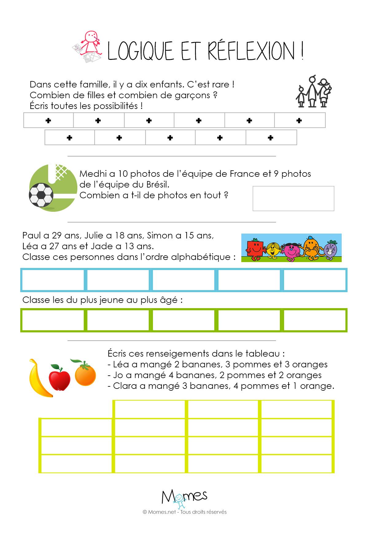 Logique Et Réflexion - Cm1 - Momes dedans Jeux Mathématiques À Imprimer