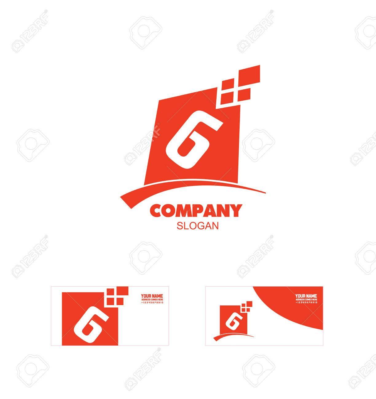 Logo Icône Élément Modèle Lettre Alphabet G Numéro 6 Six Carré Rouge  Abstrait serapportantà Modele De Lettre Alphabet
