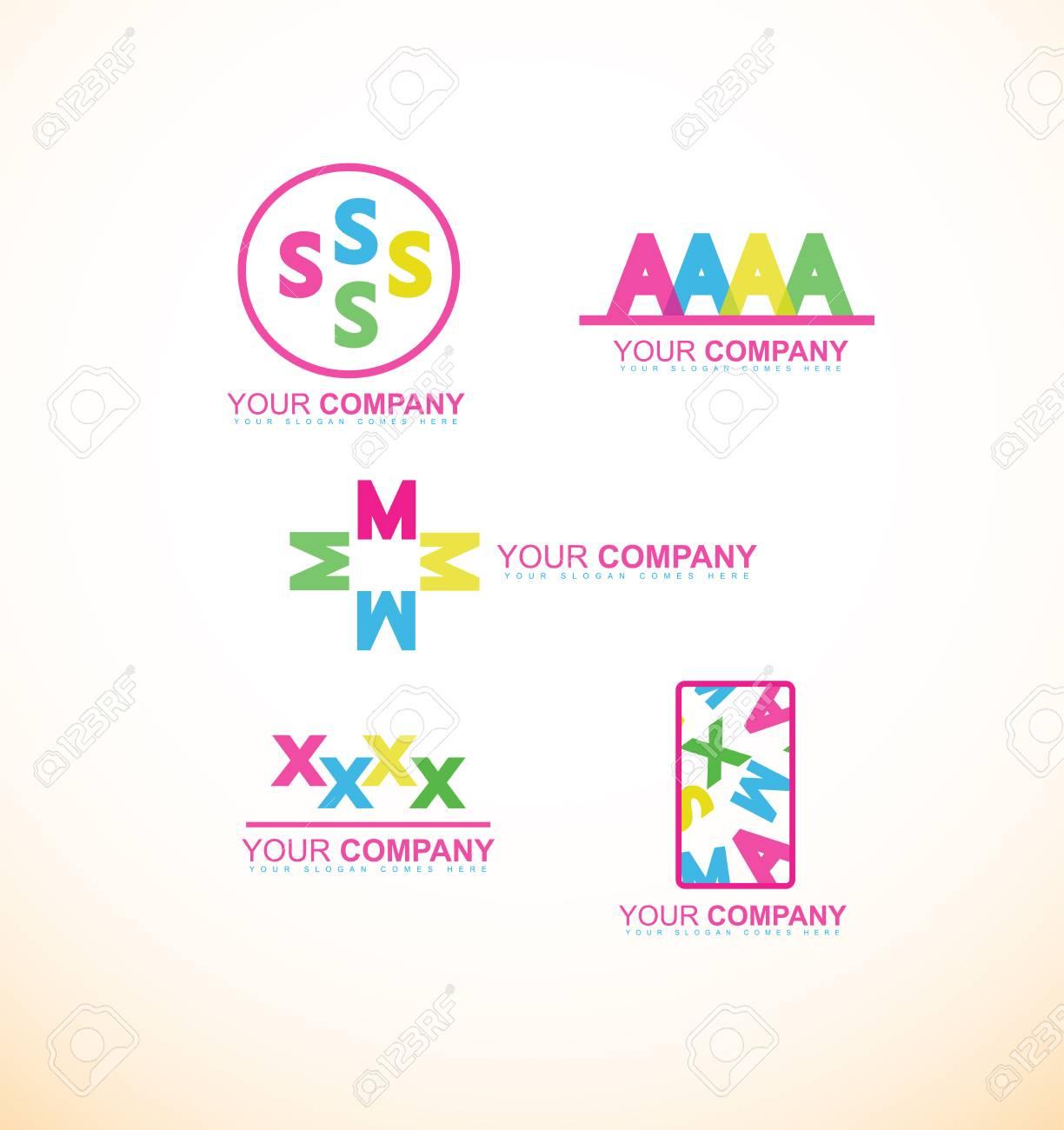Logo Icône Modèle De Lettre D'élément Alphabet Ensemble Plat Smax concernant Modele De Lettre Alphabet
