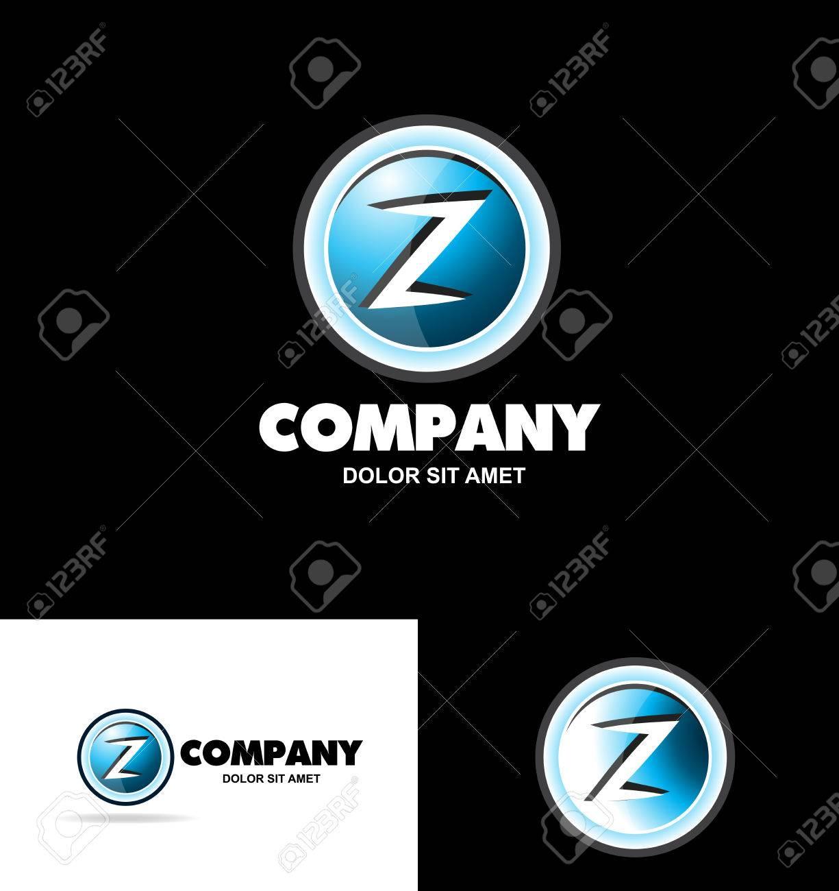 Logo Icône Modèle D'élément Lettre De L'alphabet Z Médias Bleu Blanc Jeux  Bouton De Badges Publicitaires Qu'il avec Modèle D Alphabet