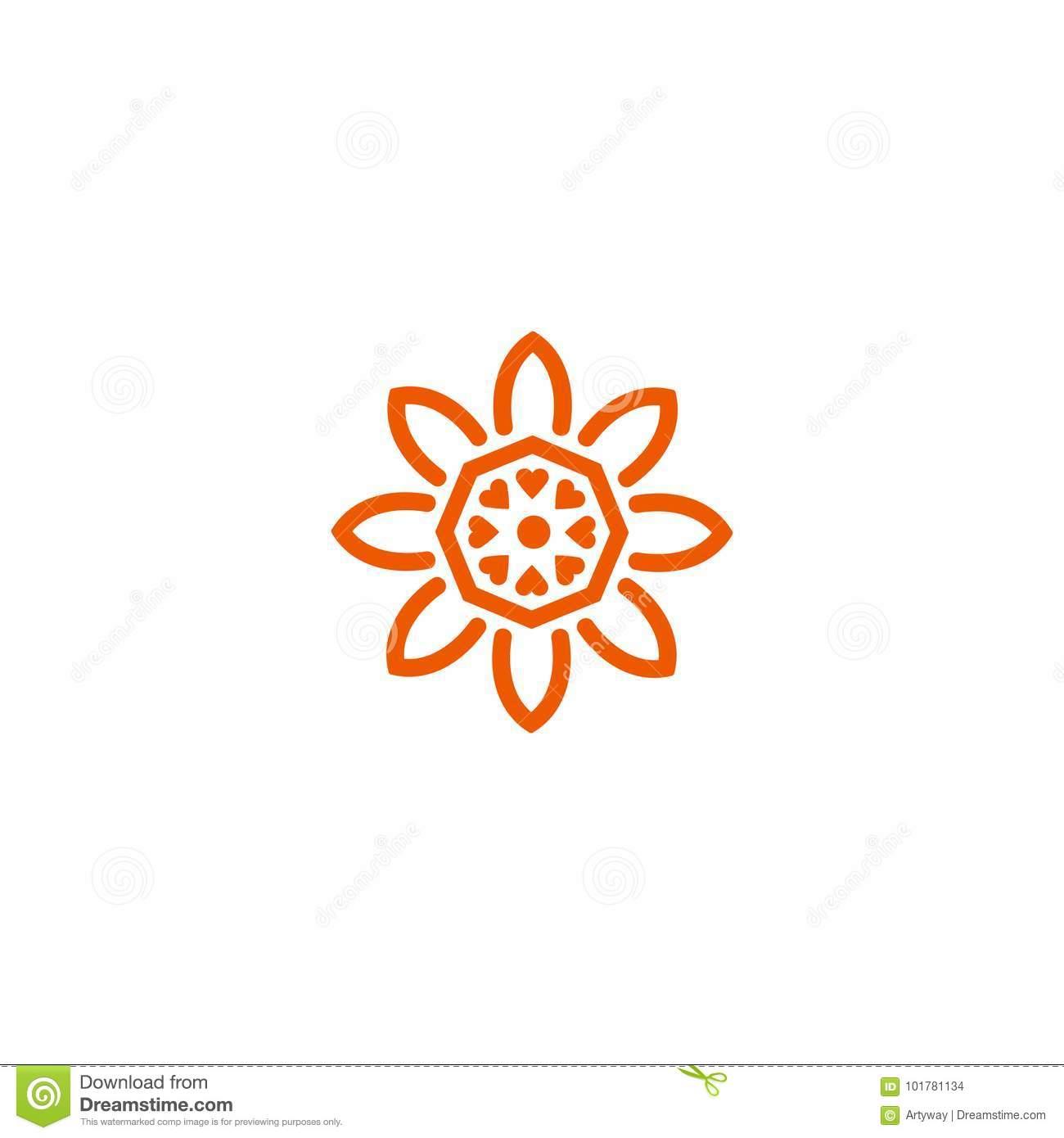 Logo Linéaire De Vecteur De Fleur Orange Icône Du Soleil De dedans Schéma D Une Fleur