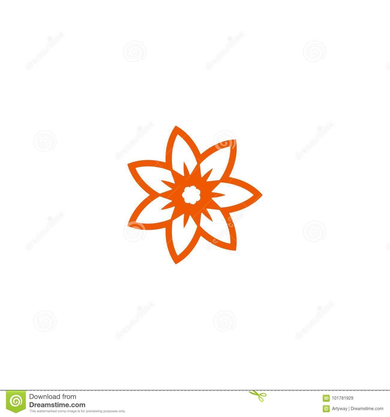 Logo Linéaire De Vecteur De Fleur Orange Icône Du Soleil De encequiconcerne Schéma D Une Fleur