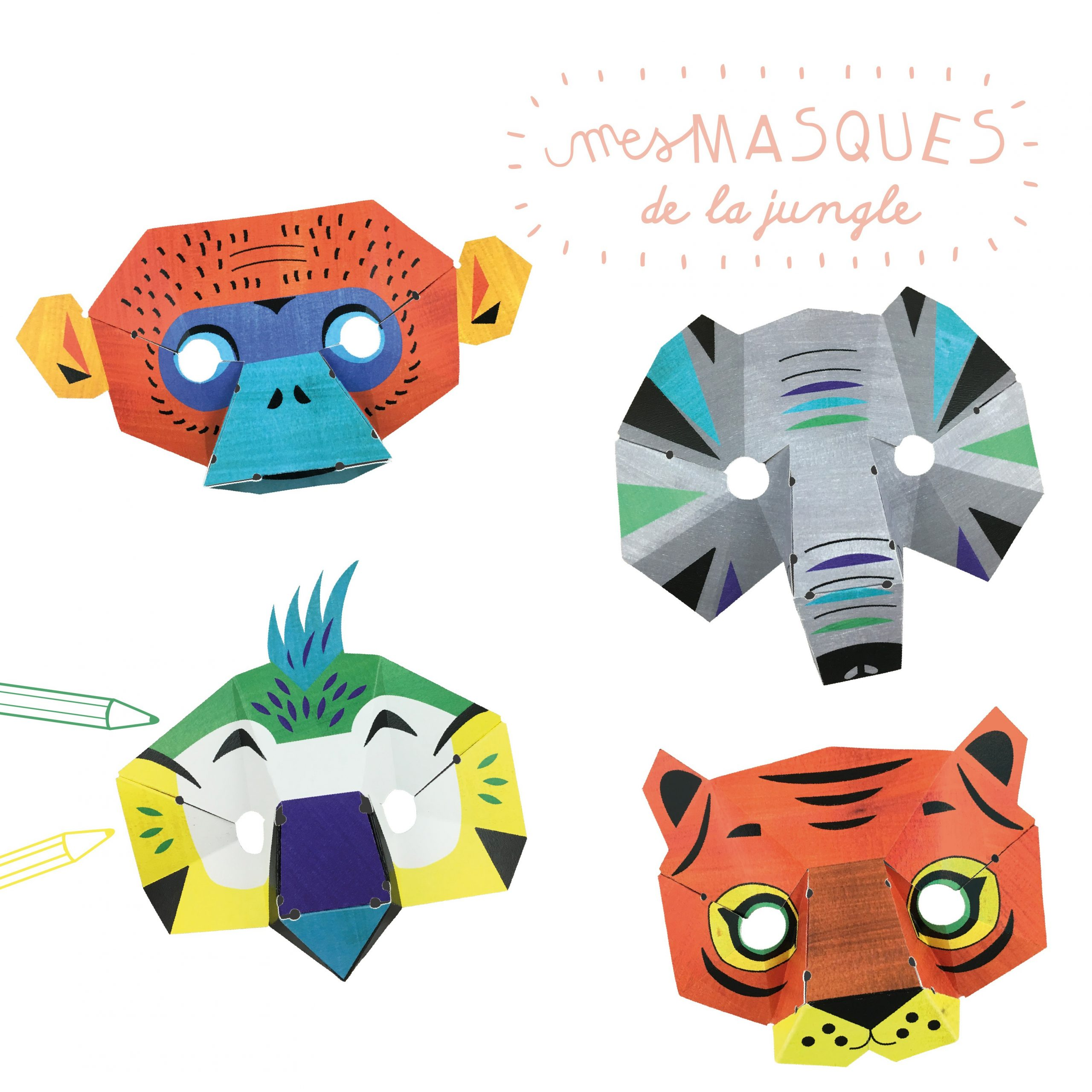 Loisir Créatif Masques Animaux De La Jungle En Papier à Masque À Imprimer Animaux