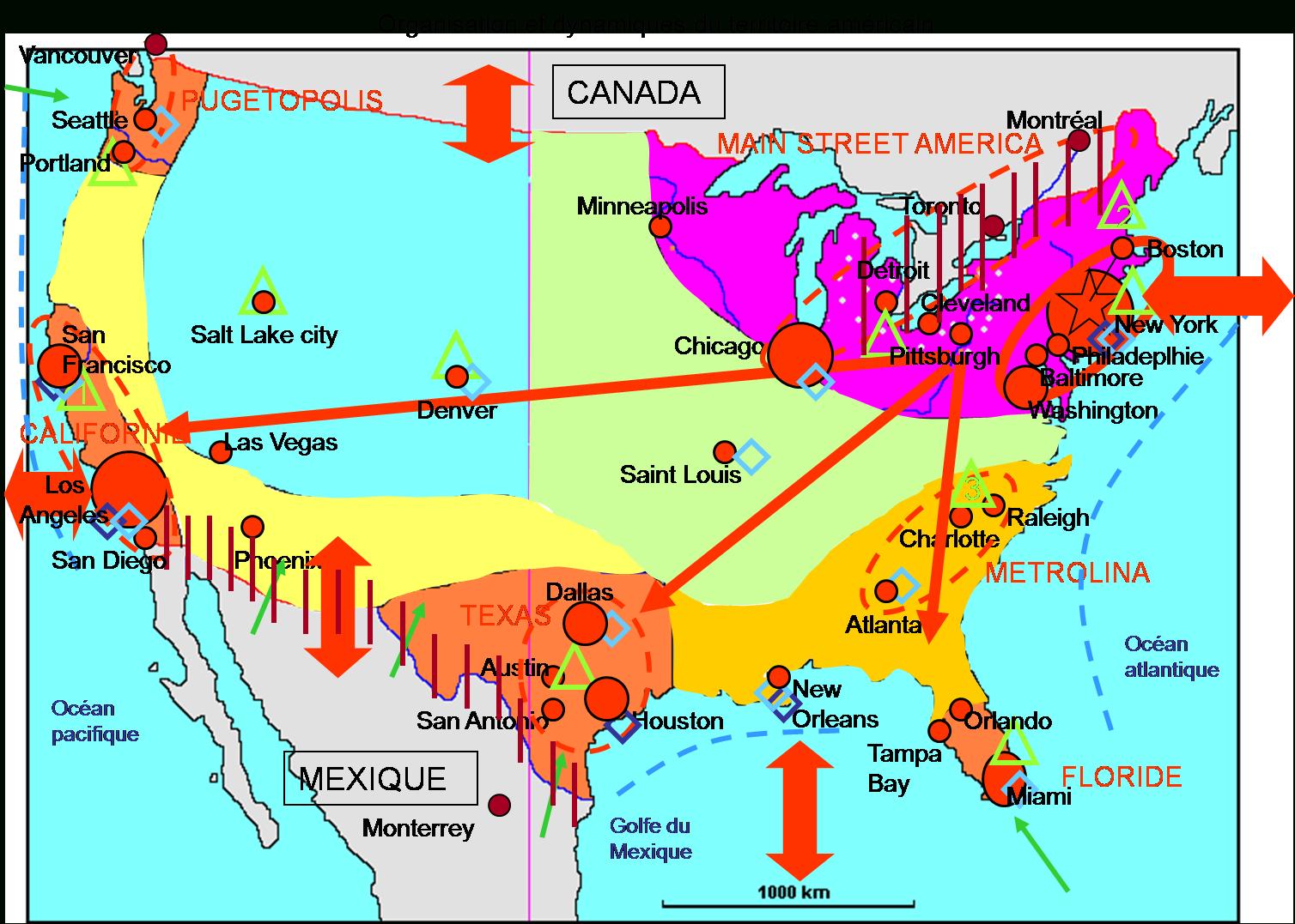 L'organisation Et Les Dynamiques Du Territoire Des Etats tout Carte Des Etats Unis À Imprimer