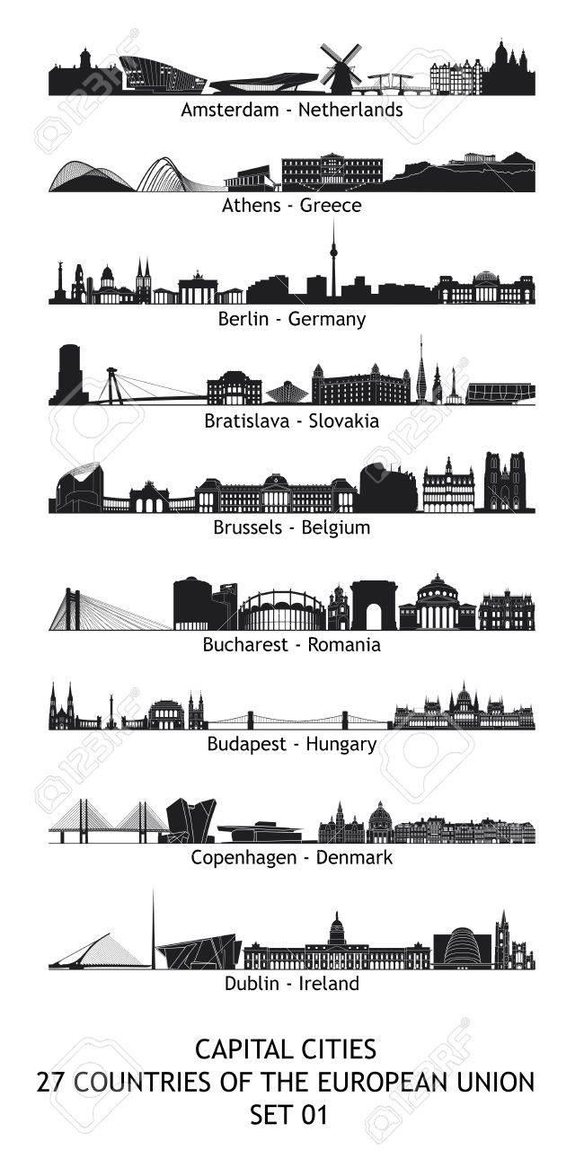Lot De 27 Horizons Des Capitales De L'union Européenne avec Les Capitales De L Union Européenne