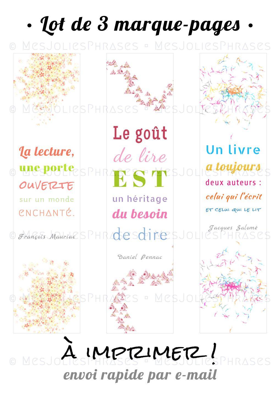 Lot De 3 Marque-Pages À Imprimer : Citations Sur La Lecture pour Marque Page Gratuit À Imprimer