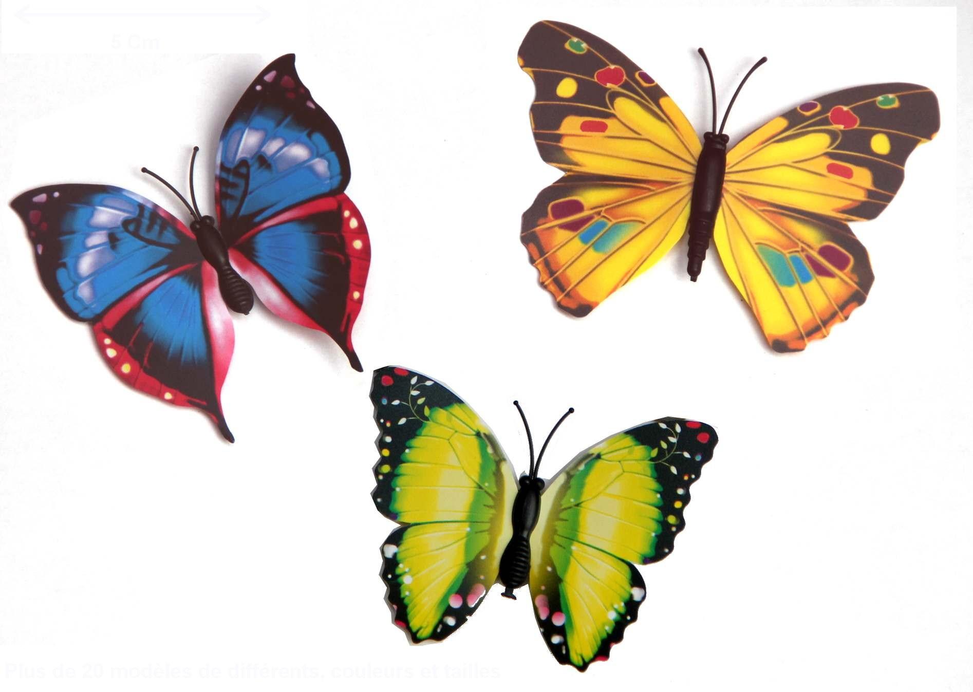 Lot De 3 Papillons Magnétiques 7 Cm avec Etiquette Papillon A Imprimer