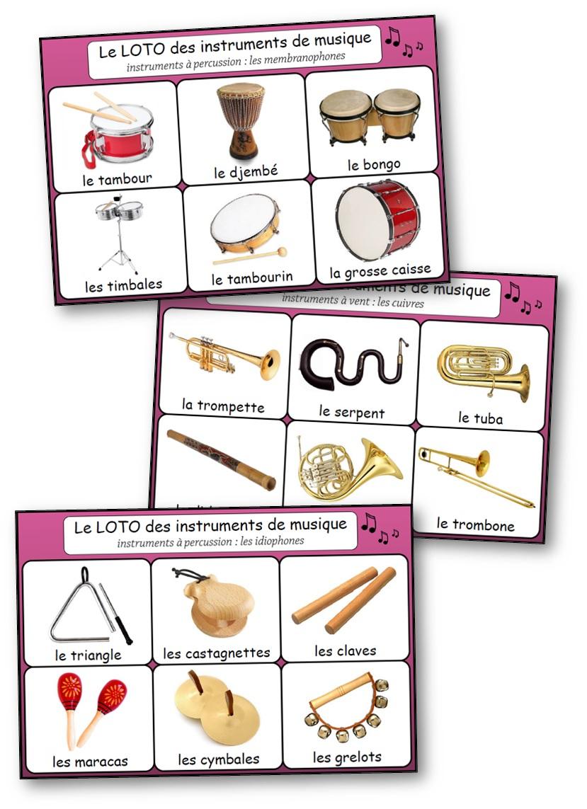Loto Des Instruments De Musique - Loto Des Instruments À concernant Jeu Des Instruments De Musique