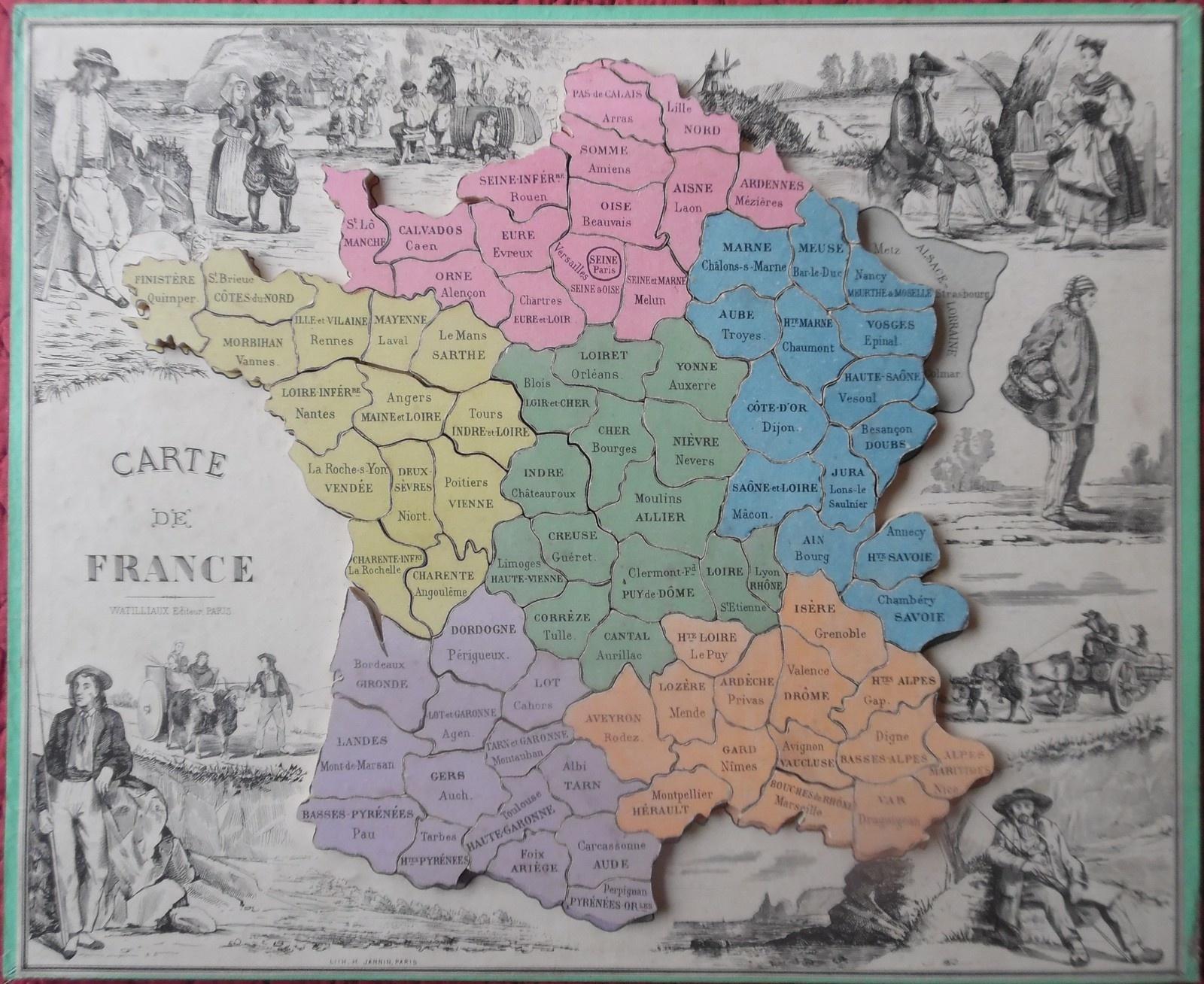Lotos Géographiques Departements. - Collection De Jeux Anciens tout Puzzle Des Départements Français