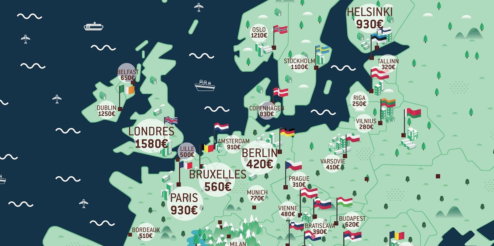 Loyers : Quelles Sont Les Villes Étudiantes Les Moins Chères intérieur Carte Europe Pays Capitales