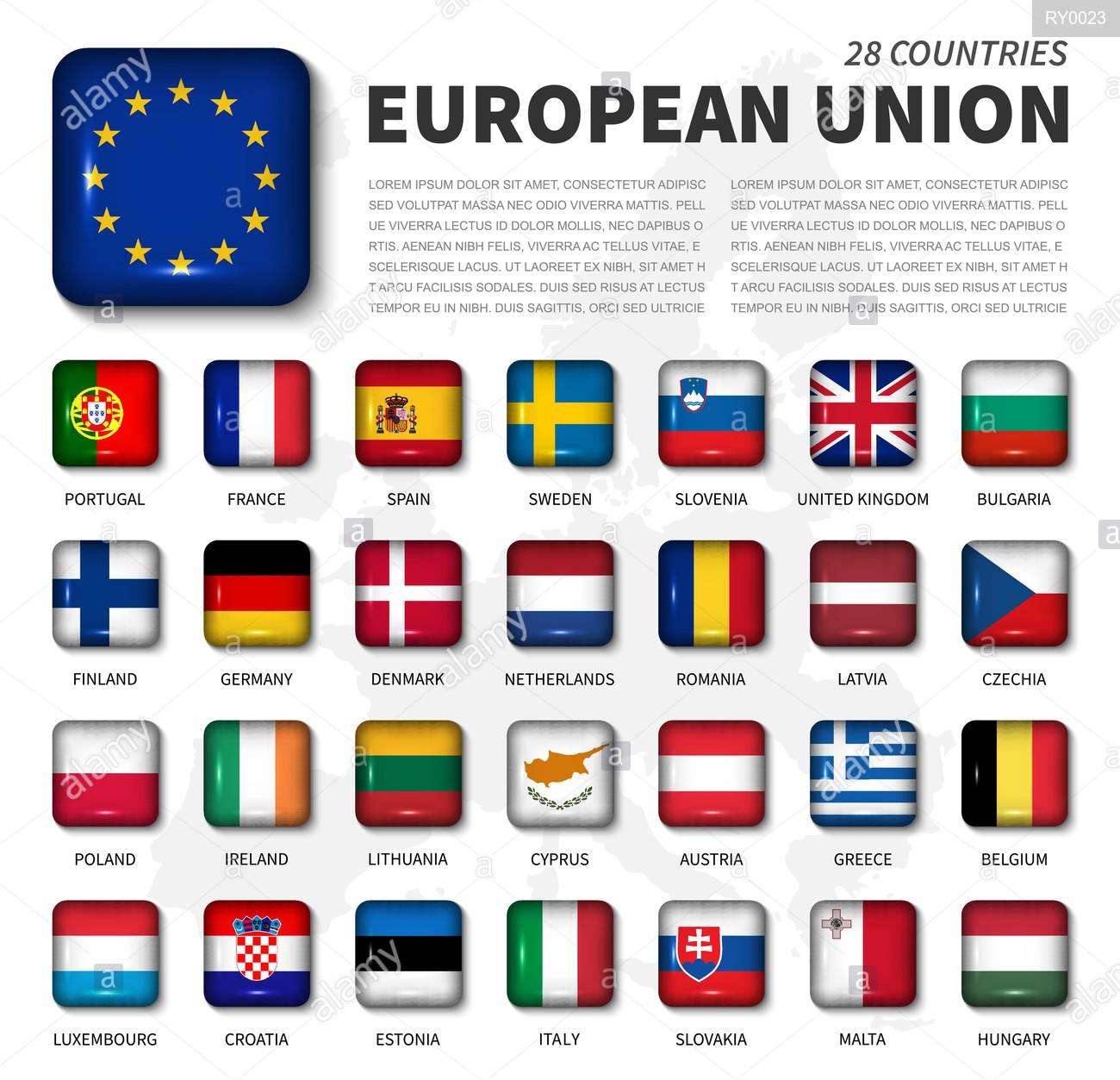 L'union Européenne ( Ue ) Et De L'appartenance D'un Drapeau concernant Carte Union Européenne 28 Pays
