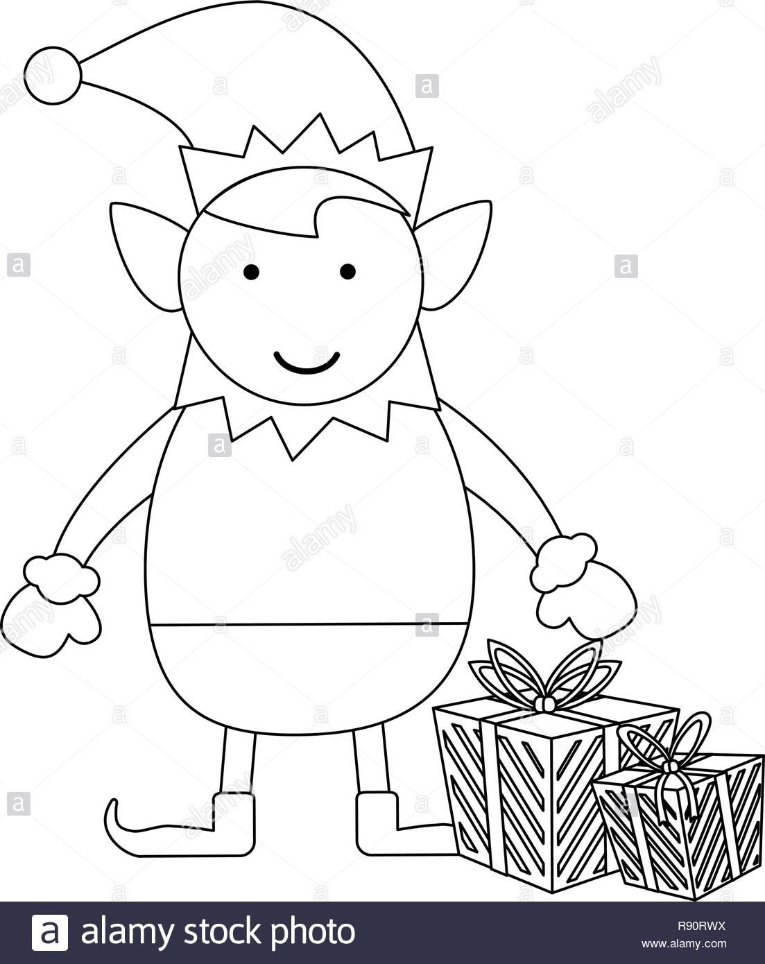 Lutin De Noël Noir Et Blanc Dessin Animé Vecteurs Et à Dessiner Un Lutin