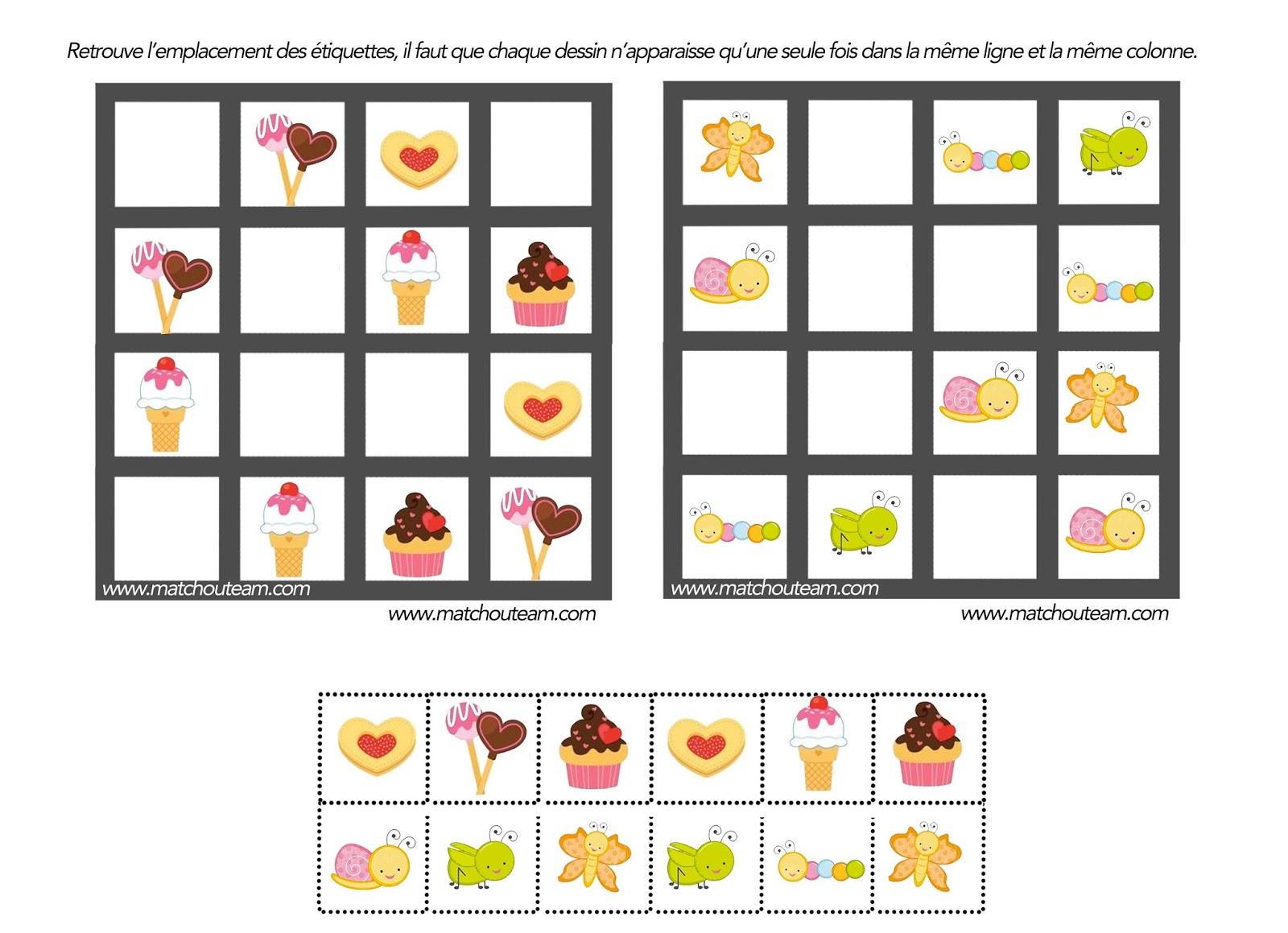 Ma Tchou Team: Jeu Pour Esprit Logique pour Sudoku Maternelle À Imprimer