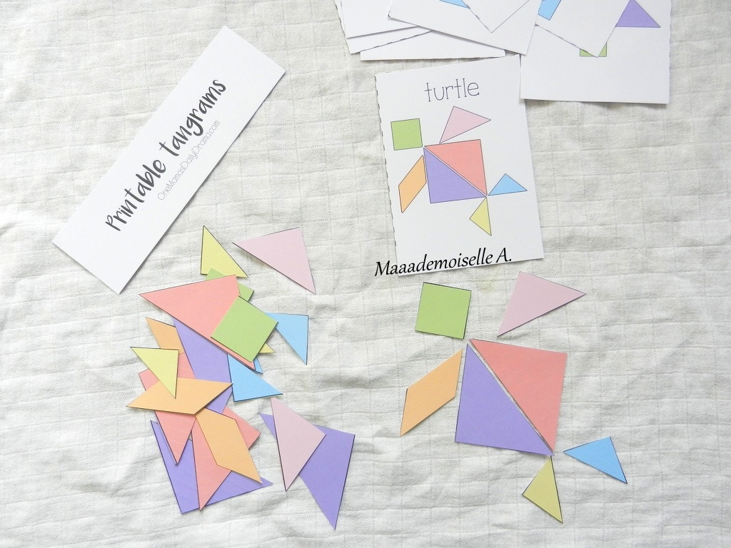 Maaademoiselle A.: || Activité : Tangram Pastel Et Cartes destiné Modèle Tangram À Imprimer