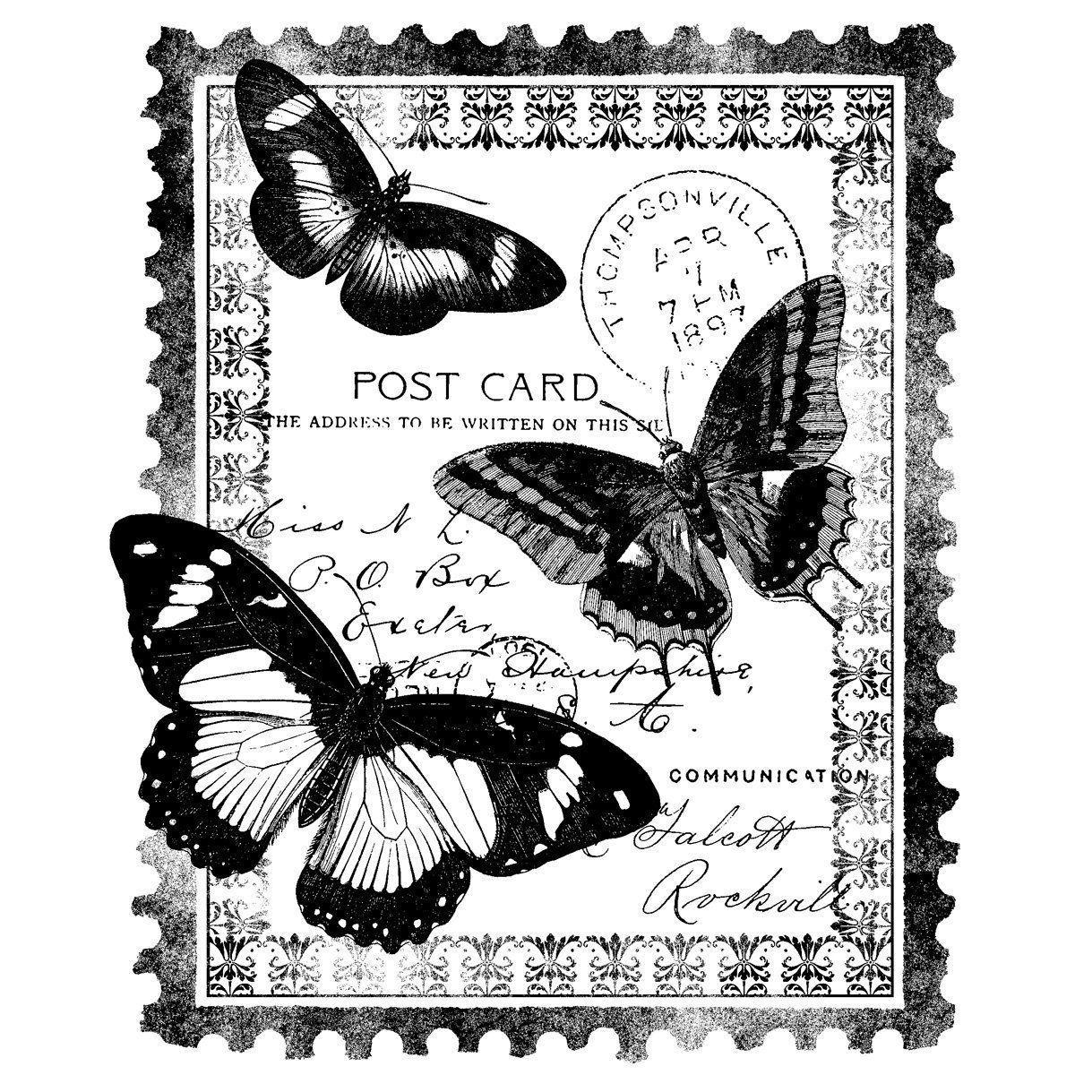 Magenta S'accrochent Carte Postale Timbres-Papillion - Pour destiné Etiquette Papillon A Imprimer