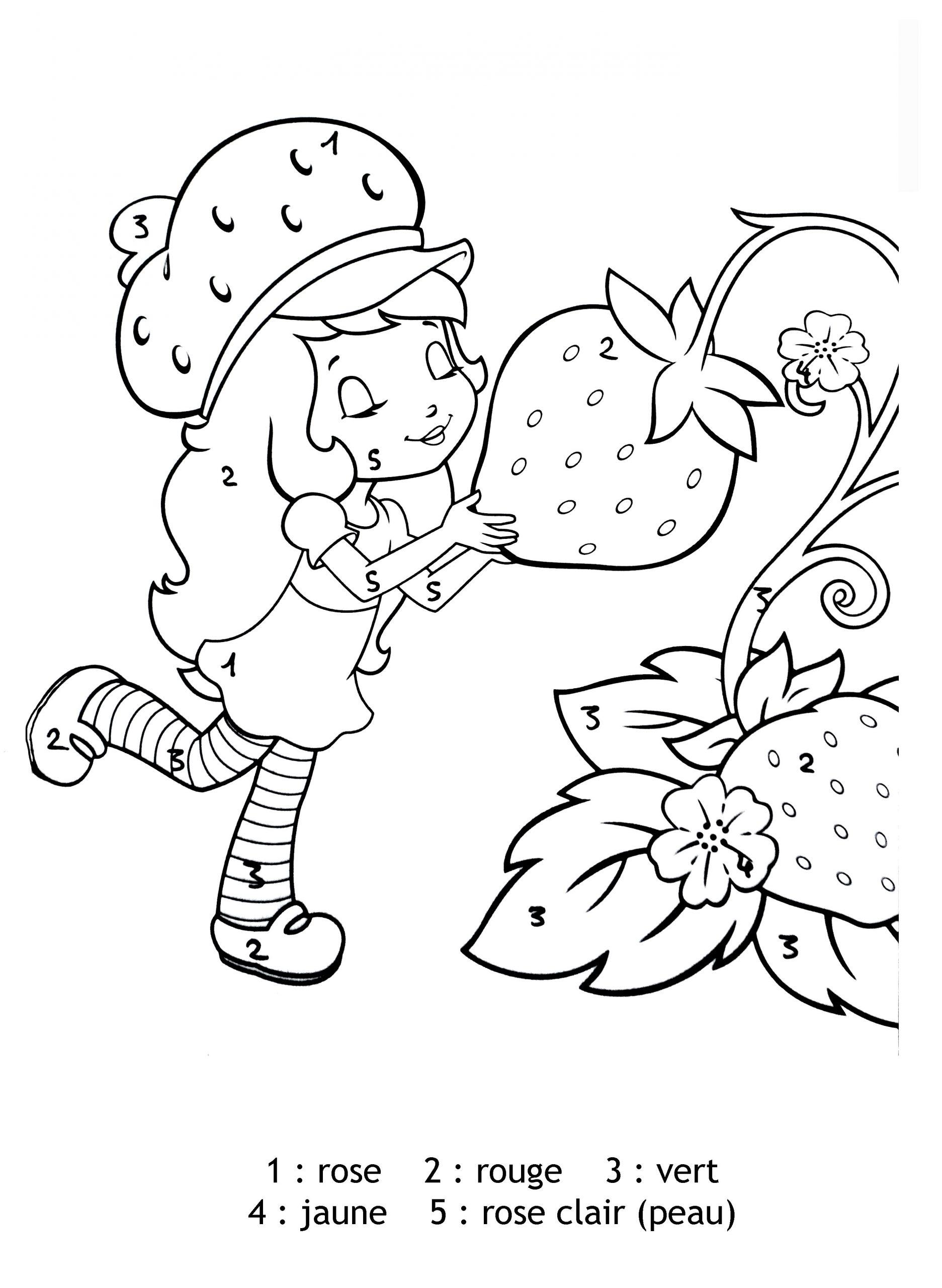 Magique Charlotte Aux Fraises Chiffres - Coloriage Magique tout Charlotte Au Fraise Coloriage
