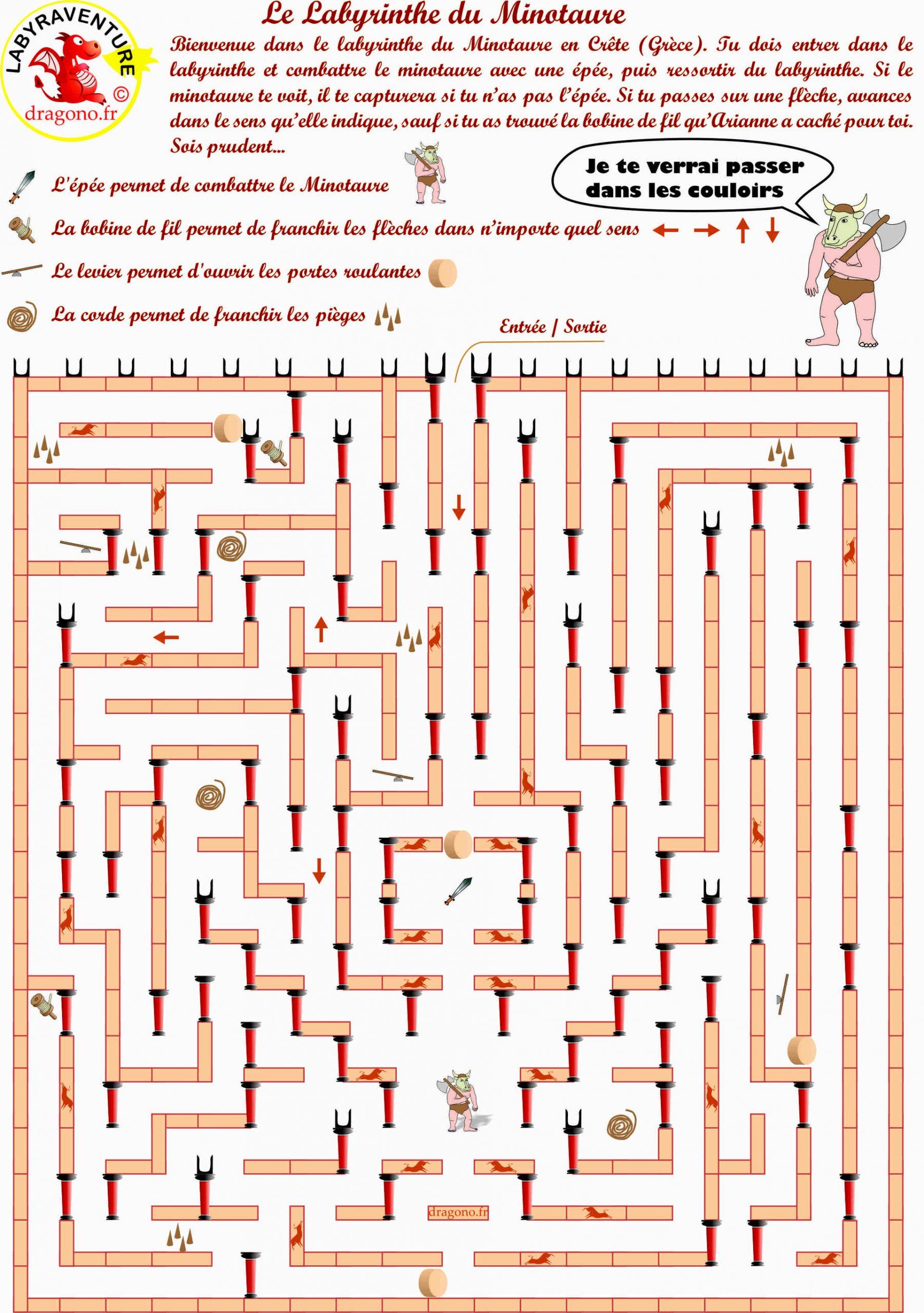 Magnifique Labyrinthe Du Minotaure À Imprimer - Dragono.fr à Jeux De Labyrinthe Gratuit